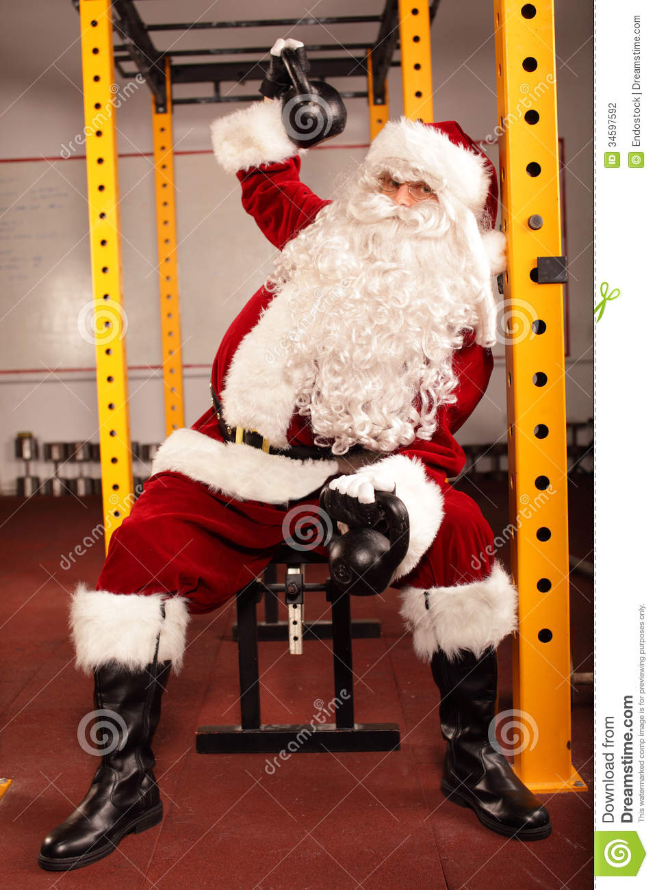 Santa Claus Training Before Christmas In Gym - Ket Stock ...