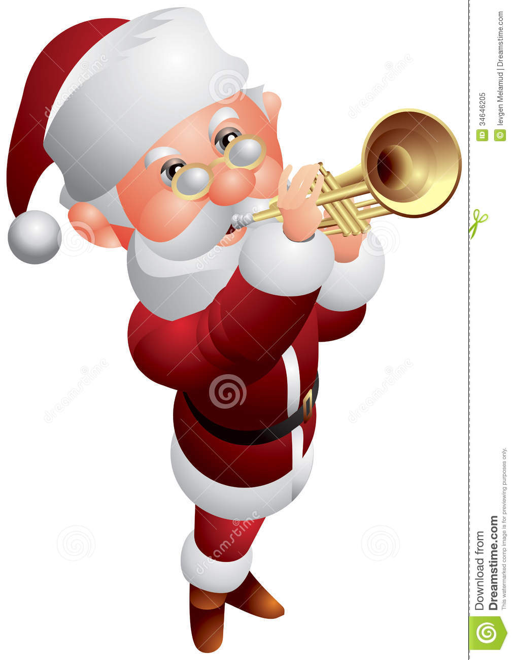 santa claus trumpeter christmas musician stock vector illustration rh dreamstime com christmas angel with trumpet clip art Christmas Nativity Scene Clip Art