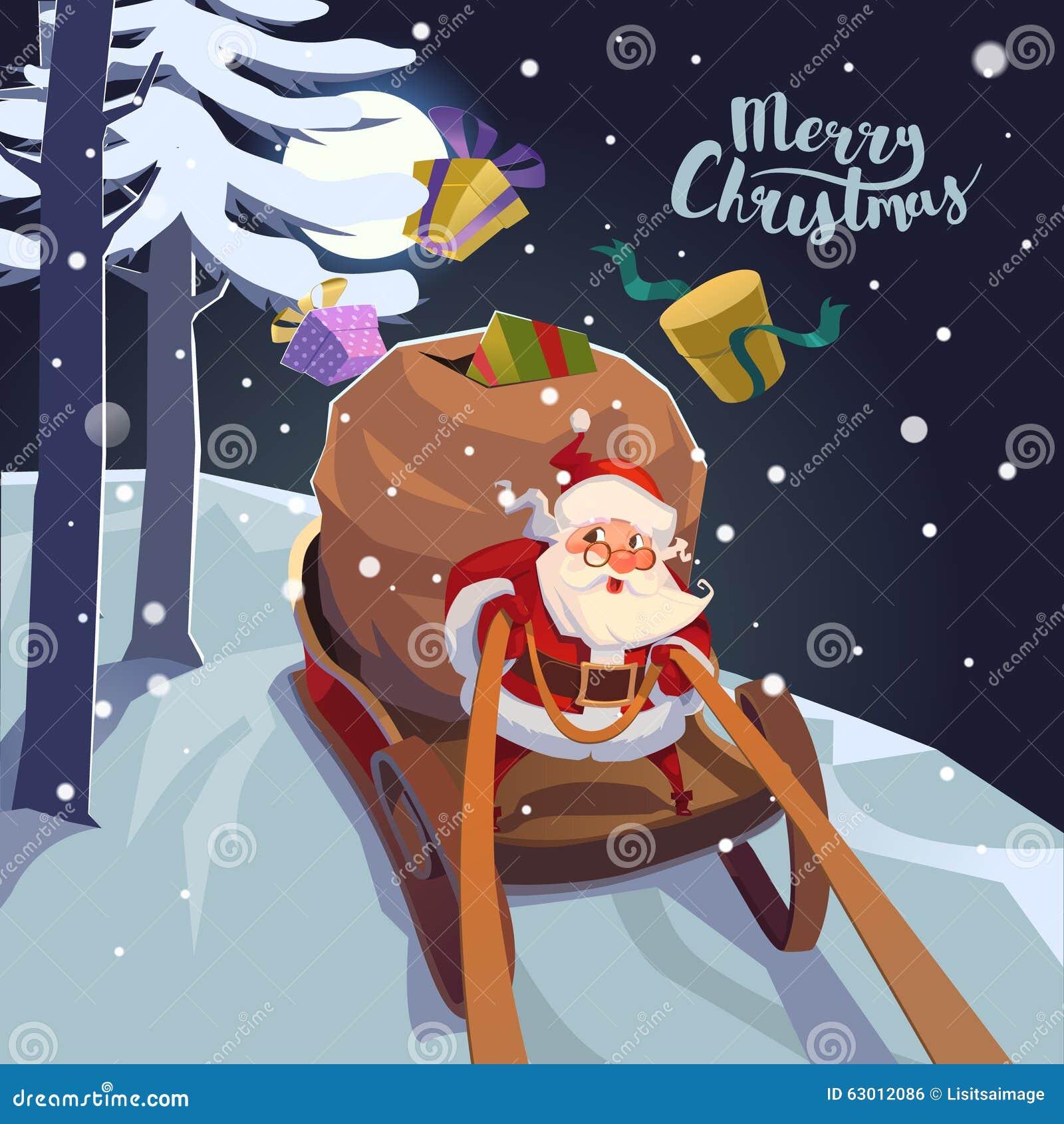 Santa Claus in una slitta con i presente in fretta per la festa Manifesto della cartolina d auguri di Natale Vettore