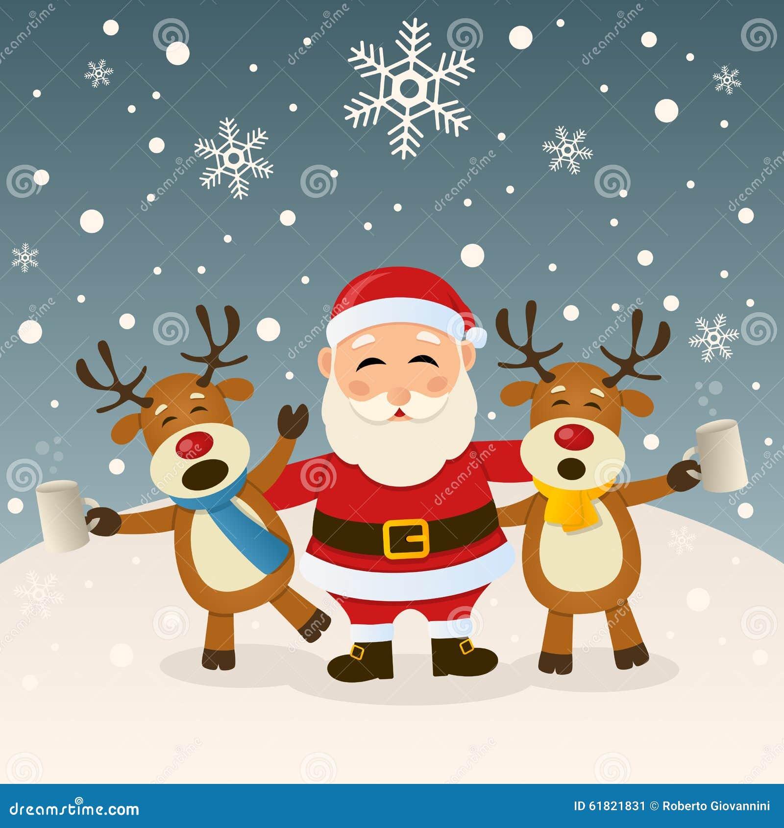 Santa Claus Und Betrunkenes Ren Vektor Abbildung - Illustration von ...