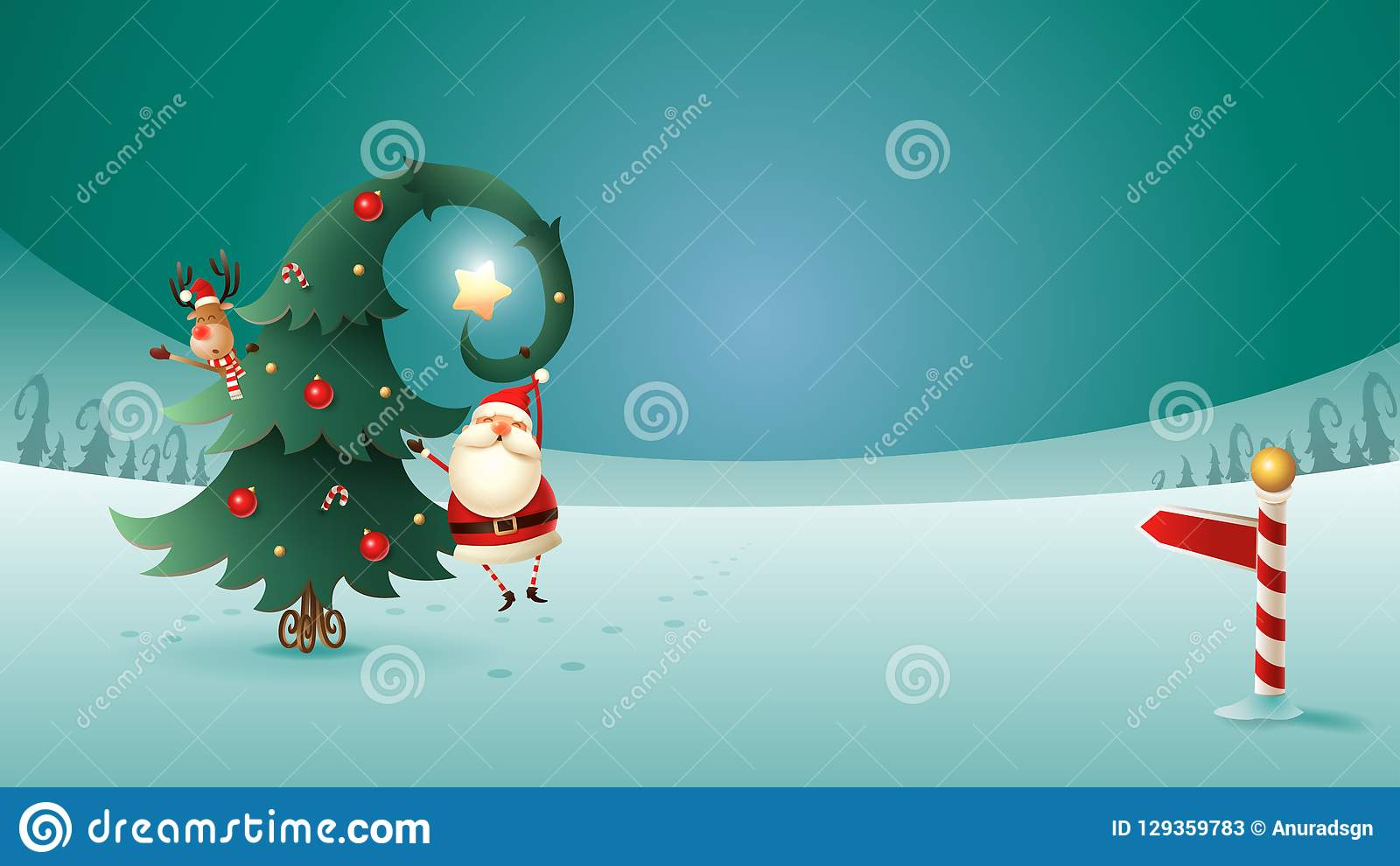 Santa Claus und Ren mit Weihnachtsbaum auf Winter gestalten landschaftlich Nordwerbepylon