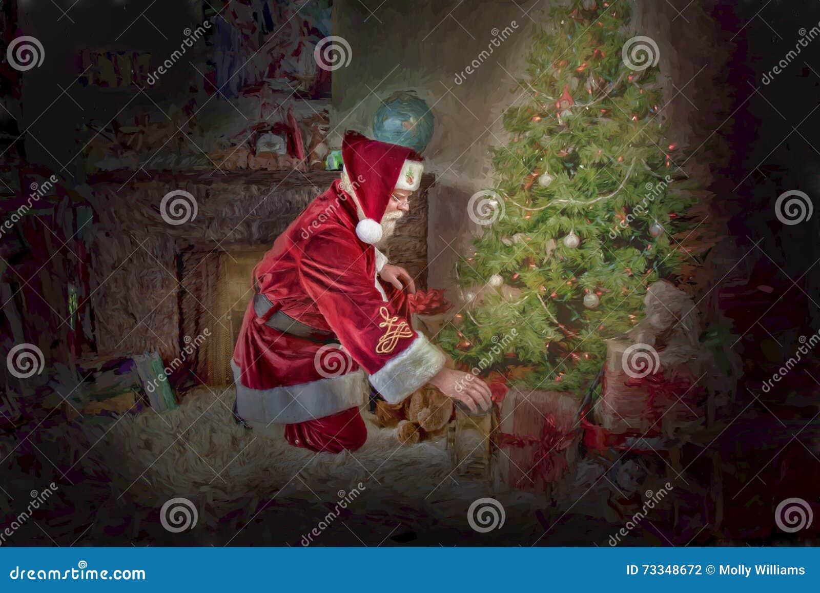 Santa Claus Under Christmas Tree Stock Image