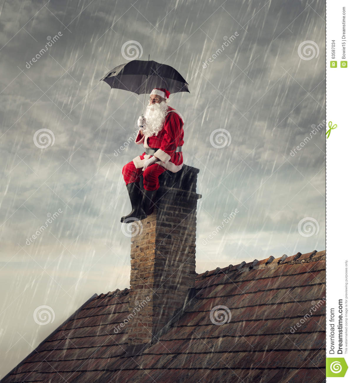 Santa Claus Under The Rain Stock Photo Image 63587034