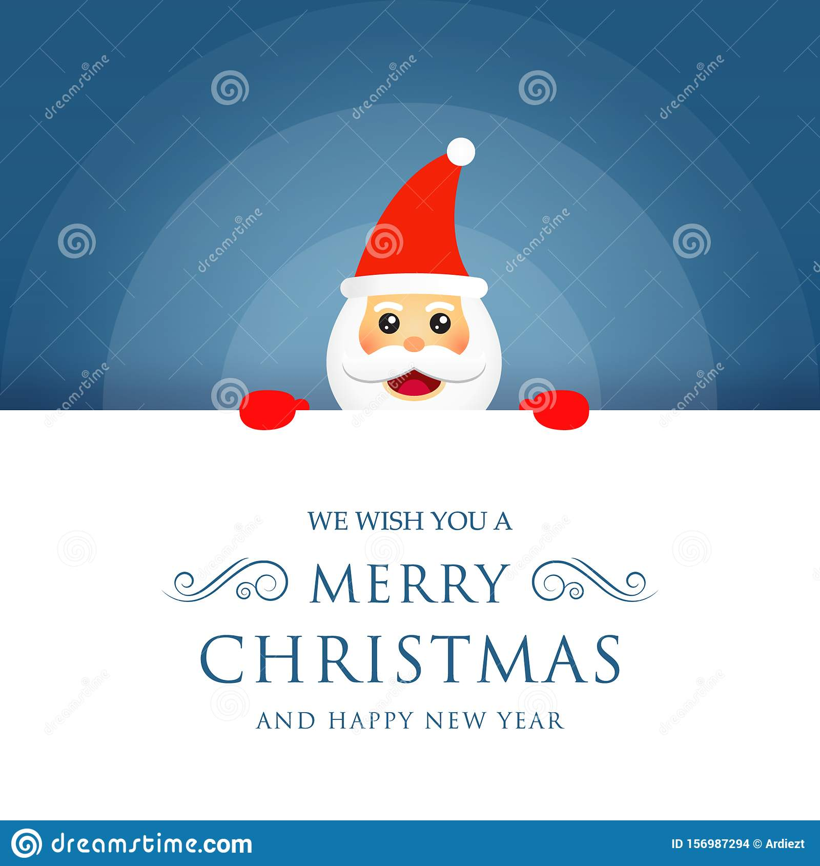 Santa Claus Vector Illustration In Blue And White Background