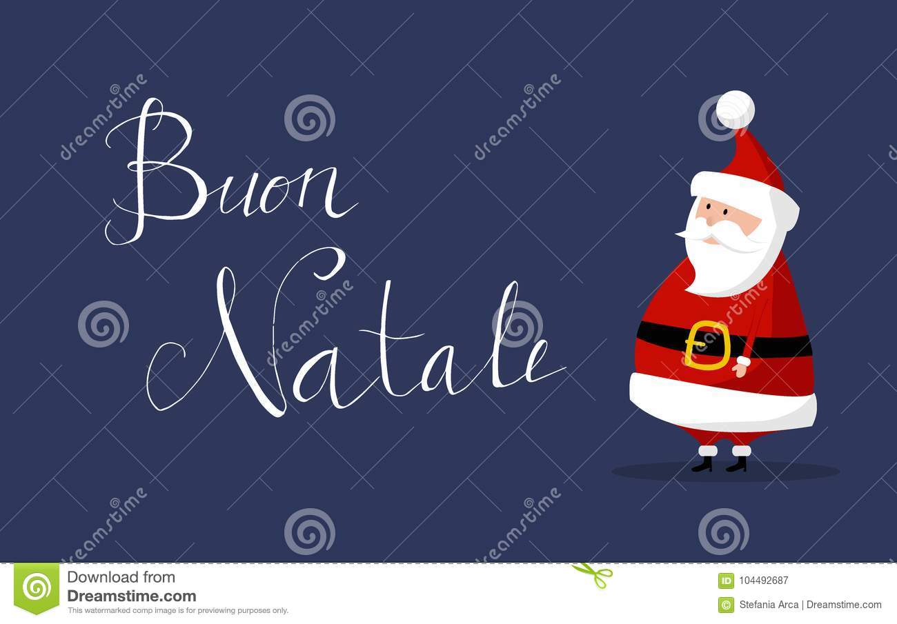 Santa Claus Vector With Merry Christmas Wishes As Buon Natale In