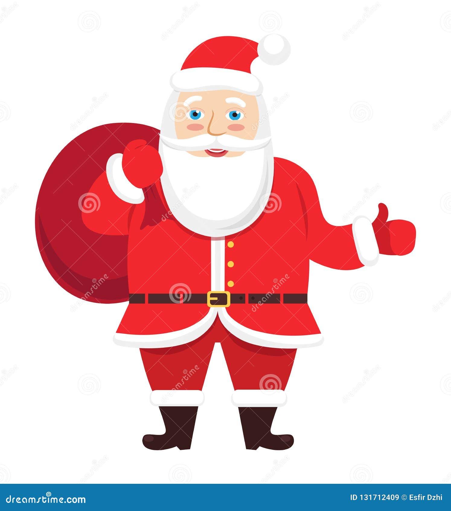 Santa Claus-Vektor, der den Daumen herauf Handweihnachten lokalisiert auf weißem Hintergrund gibt