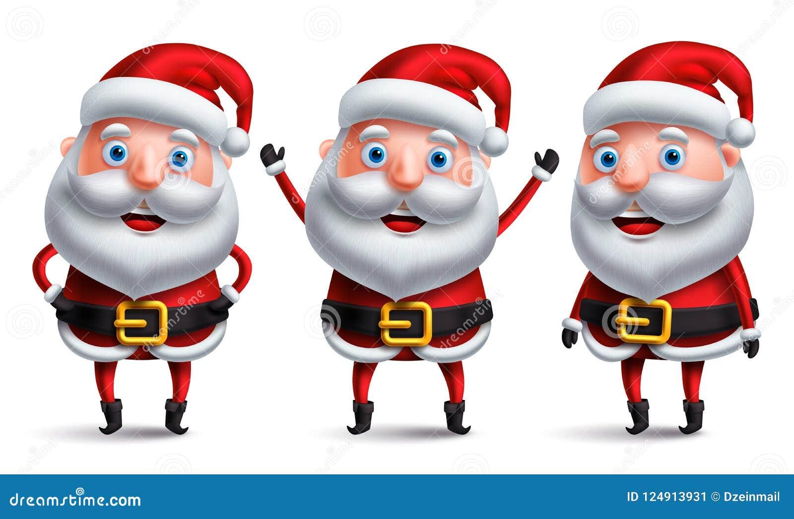 Santa Claus vektortecken ställde in lyckligt le och samtal med handgester
