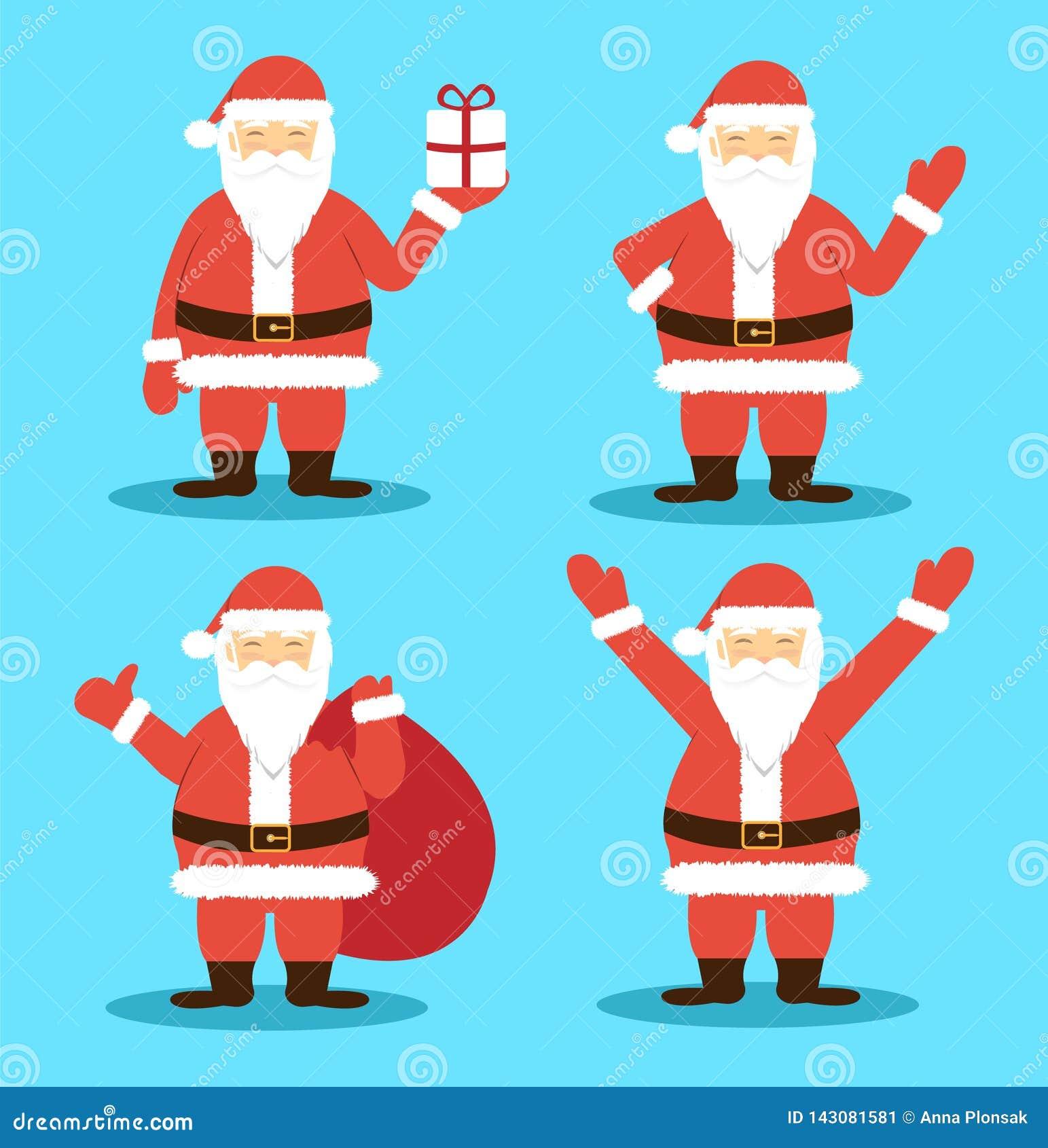 Santa Claus in verschillend stelt Vrolijke Kerstmis en Gelukkig Nieuwjaar Vlakke stijl
