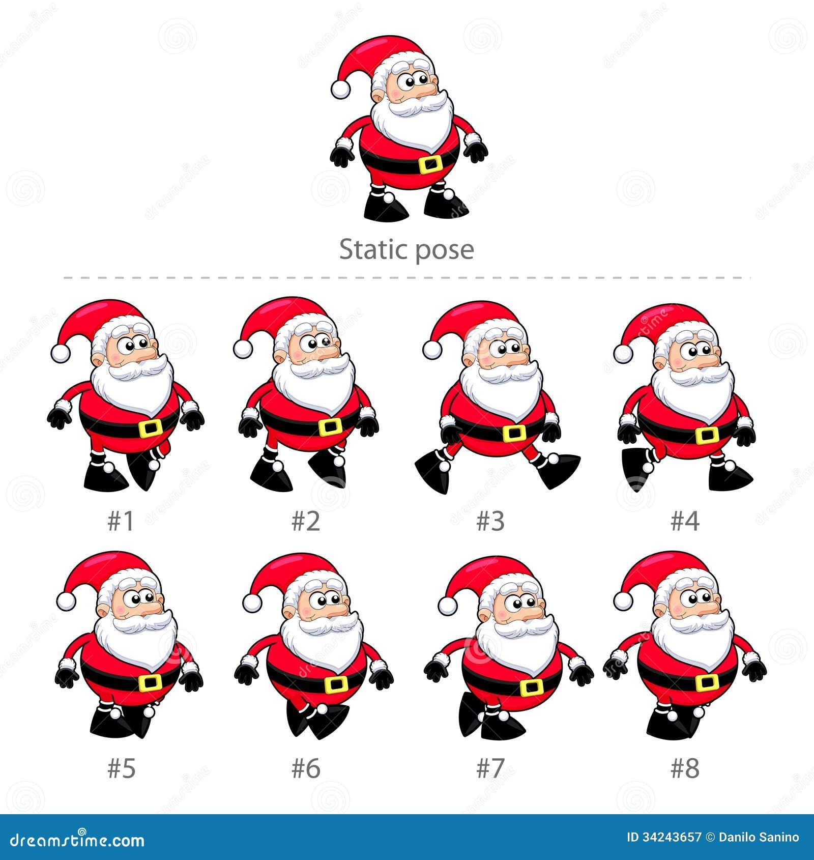 Santa Claus Walking Frames. Stock Vector - Illustration of happy ...