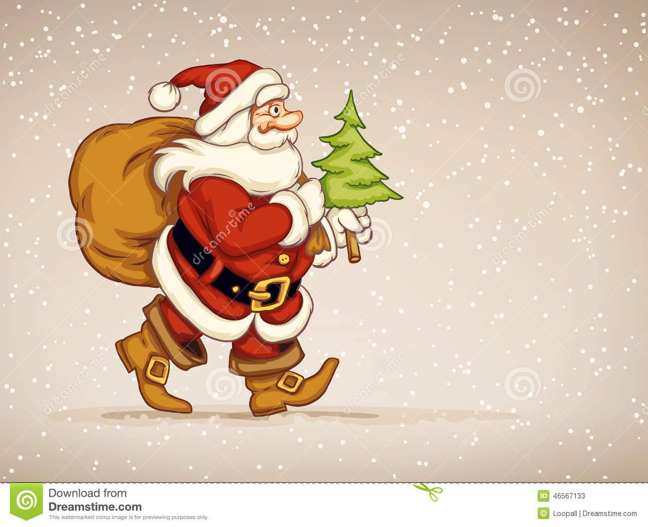 Santa Claus Walking With Sack Of Gifts And Firtree In His