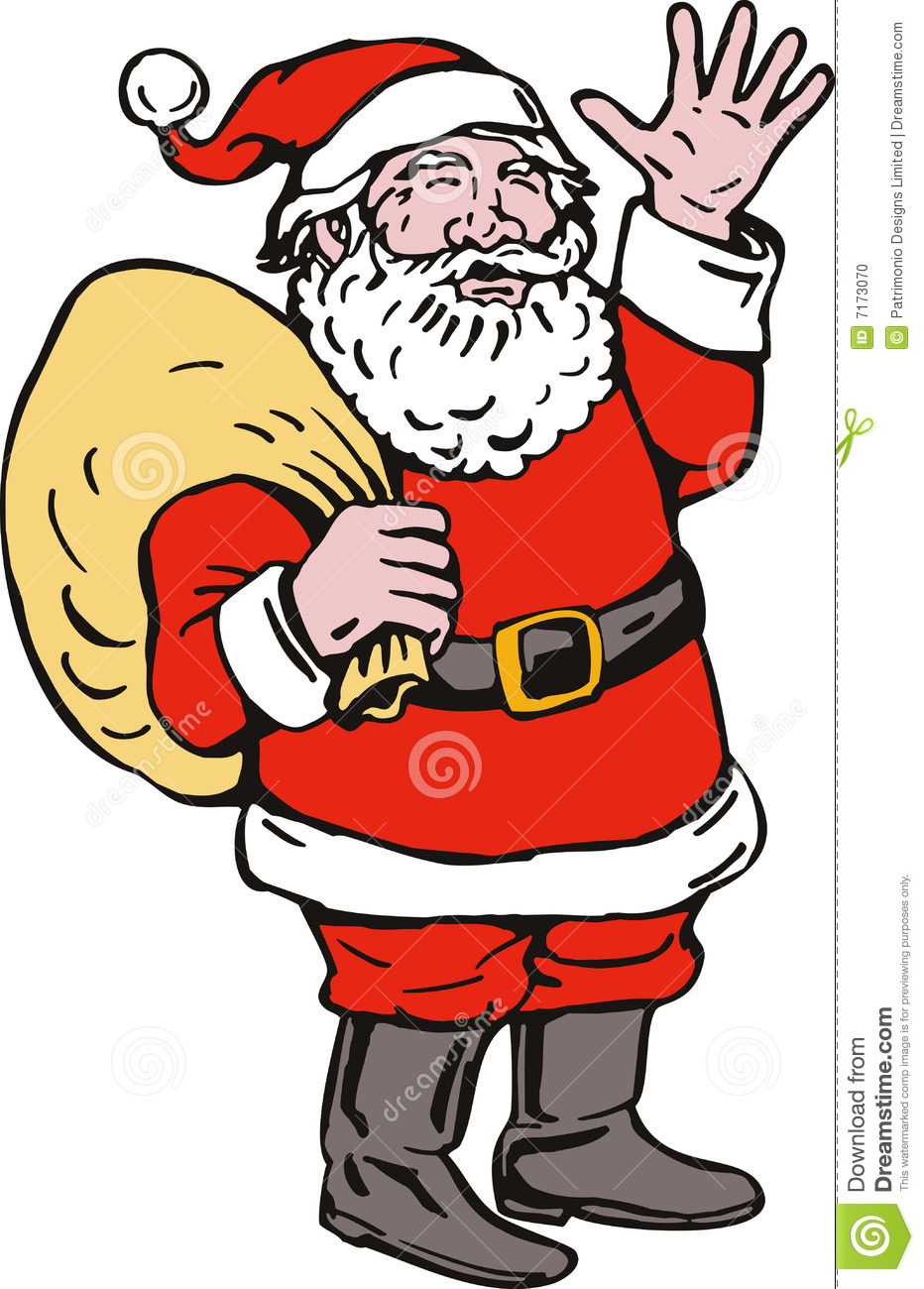 Santa claus waving stock photo image