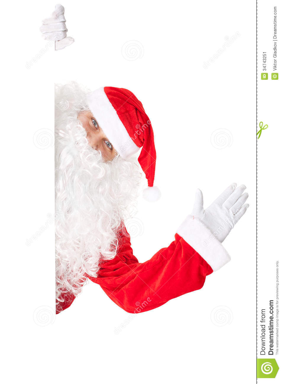 Santa claus waving with blank sign stock image