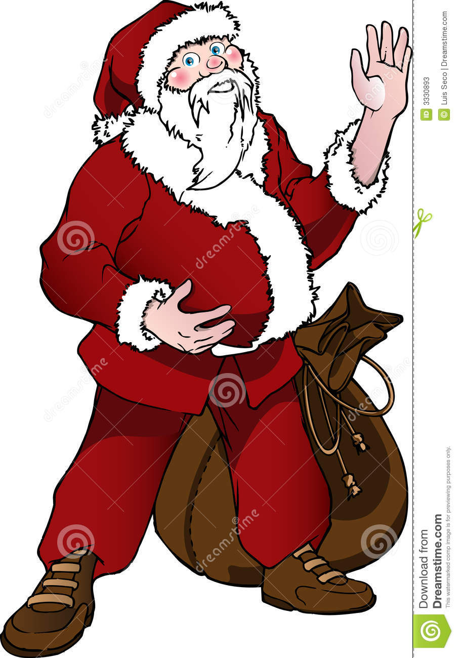 Santa claus waving hands stock photos image