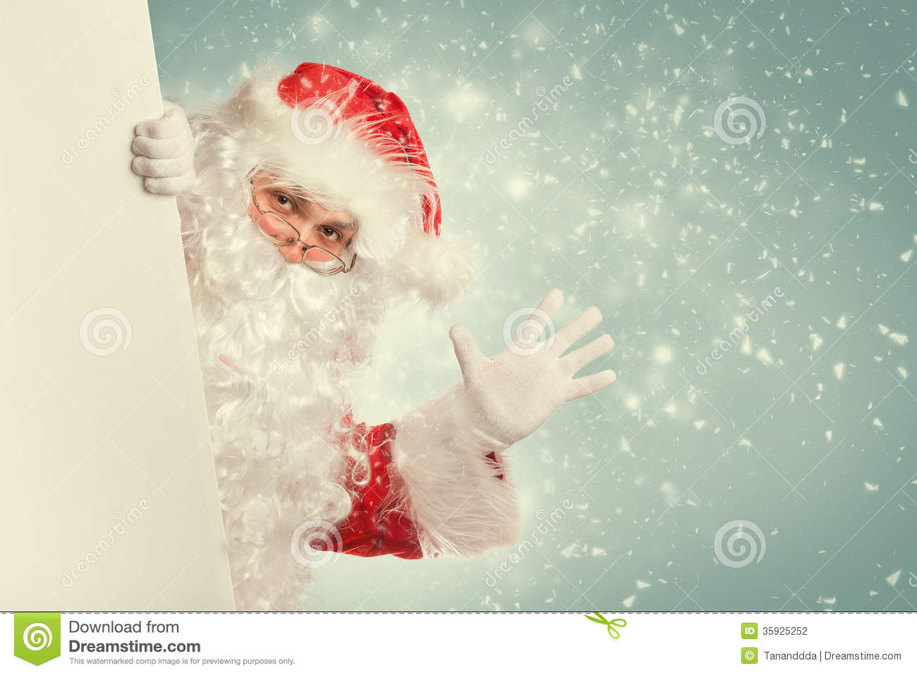 Santa claus waving hello stock photography image