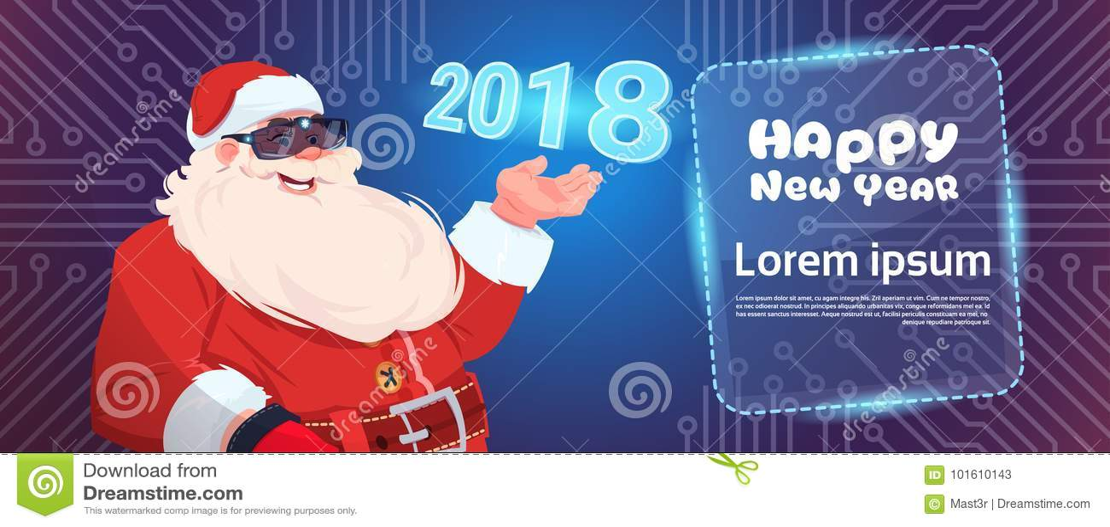Santa Claus Wear Digital Glasses Virtual Reality Concept Merry ...