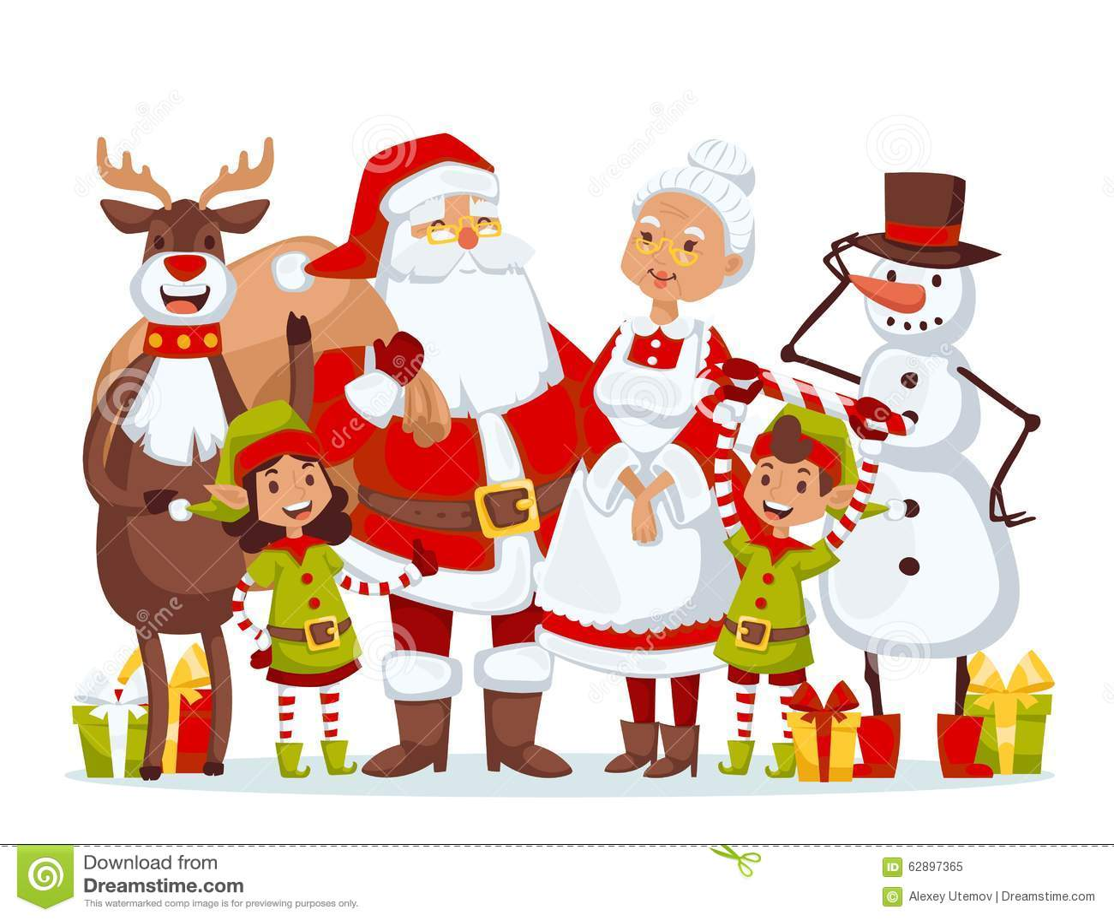 Santa claus wife and kids cartoot family vector stock
