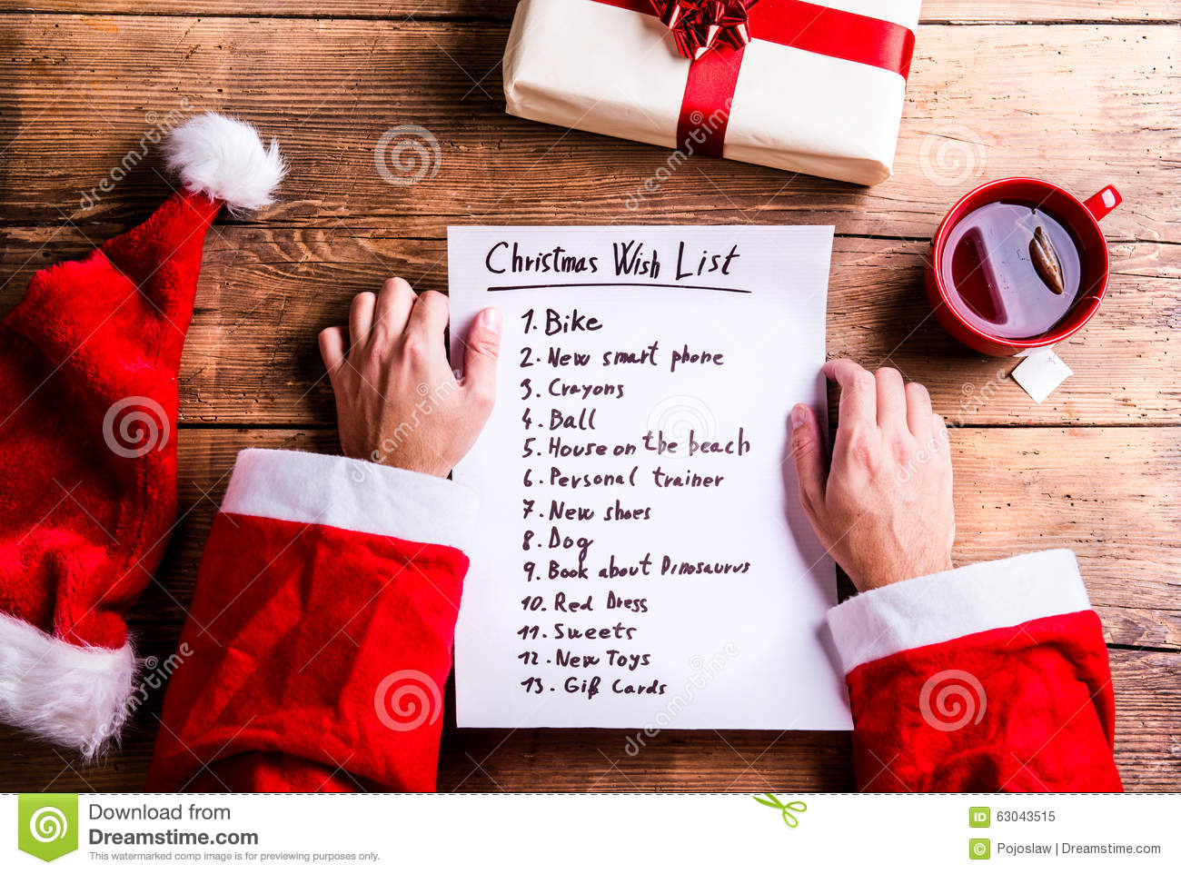 Santa Claus And Wishlist Stock Image Image Of Gift Desk 63043515