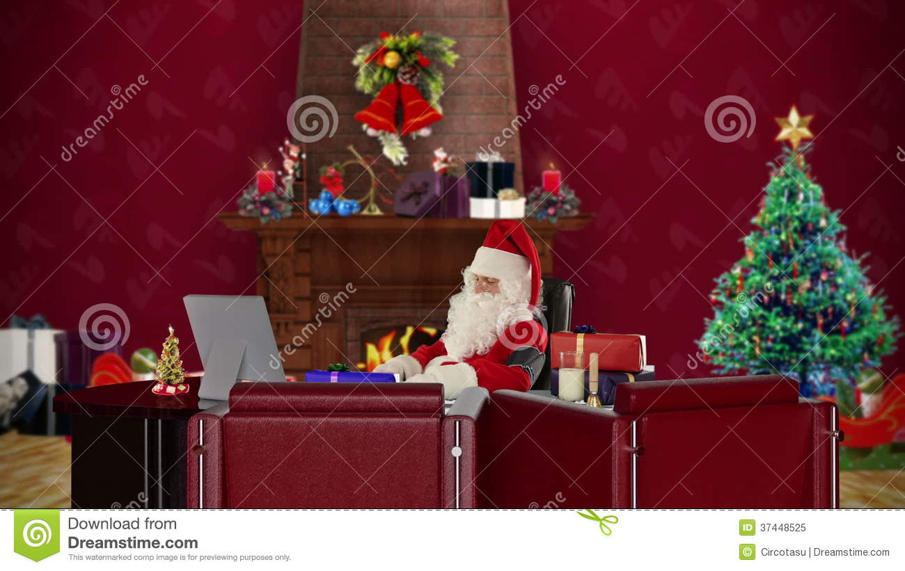 santa claus at work checking blood pressure office with christmas decorations stock footage stock video footage video of warm computer 37448525 - Christmas Decoration Video