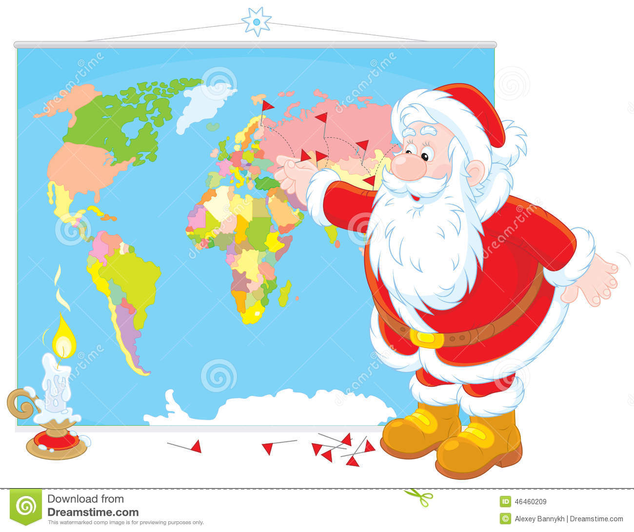 Santa Claus With A World Map Stock Vector Image 46460209
