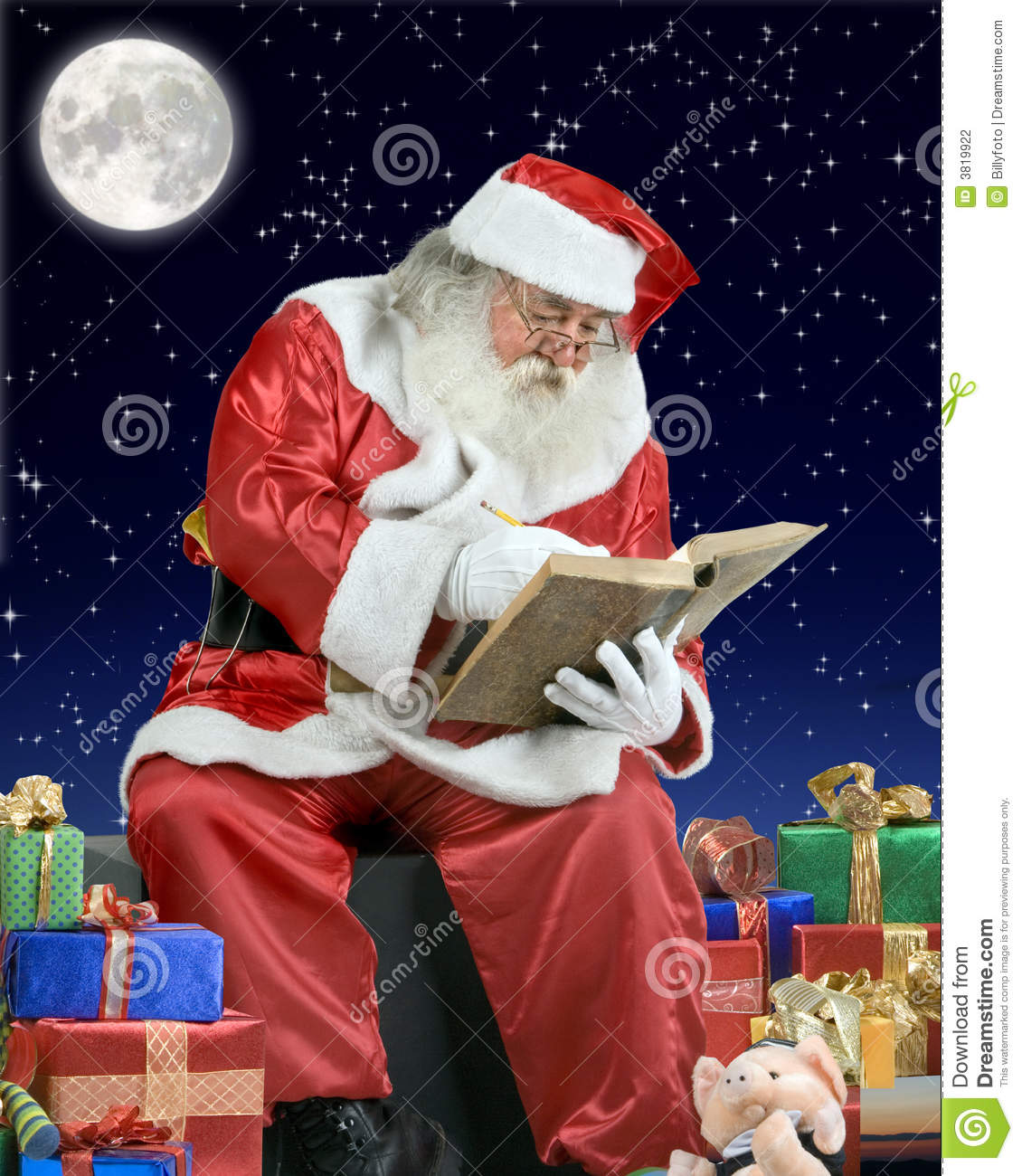Santa Claus Writing His Notebook On The Roof Of A Stock