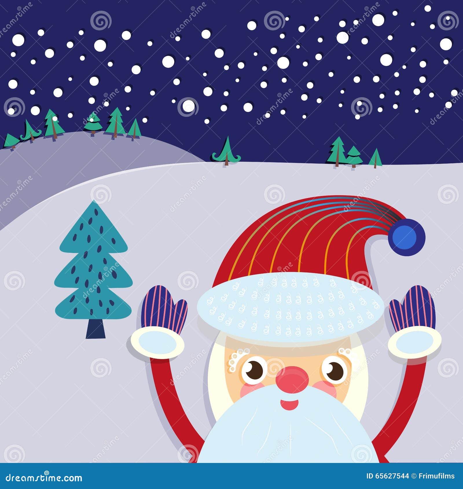 Santa Claus And Xmas Tree Greeting Card Stock Vector Illustration