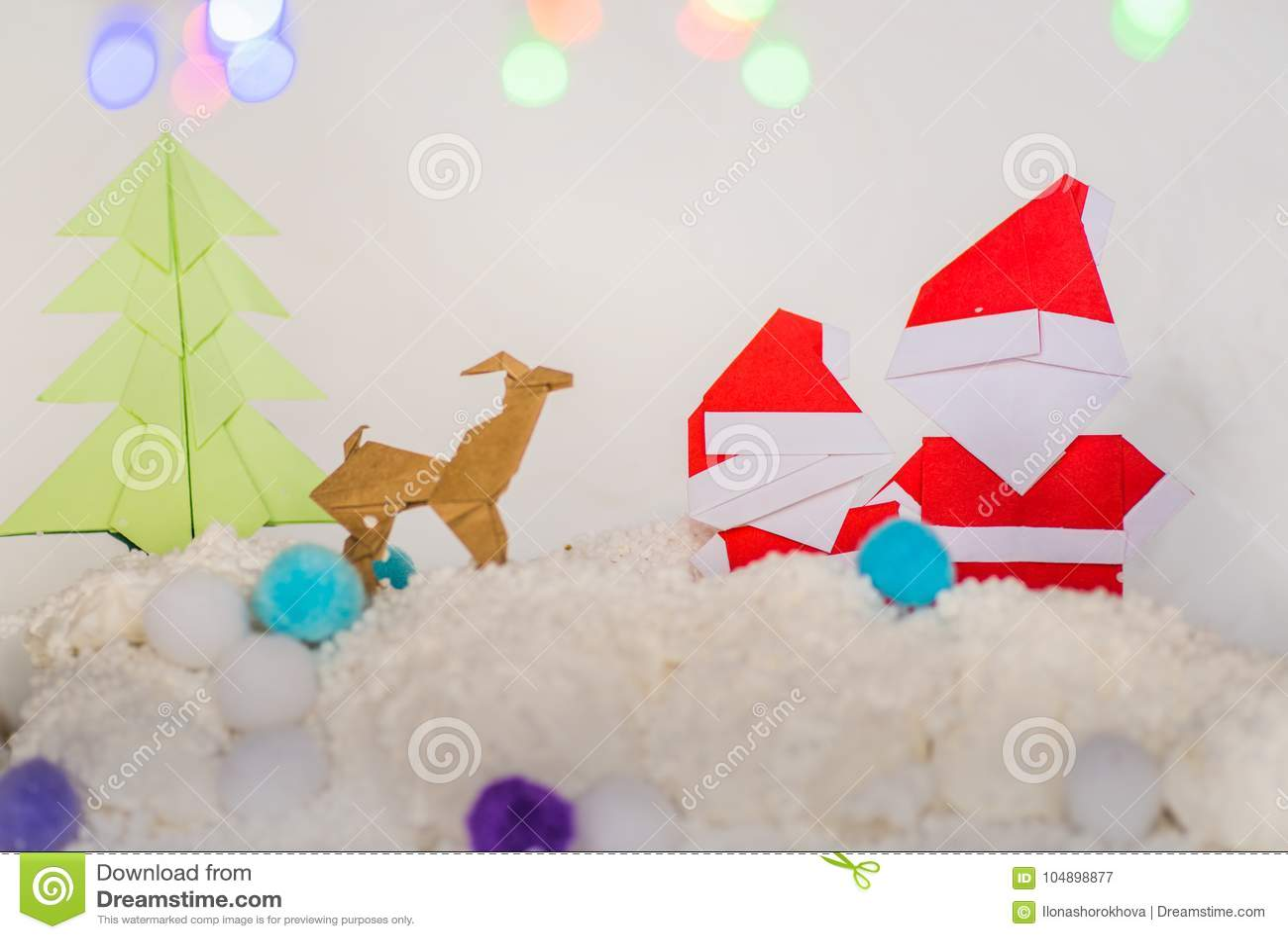 Santa Clausxmas Tree And Reindeer Christmas Paper Craft Stock Image