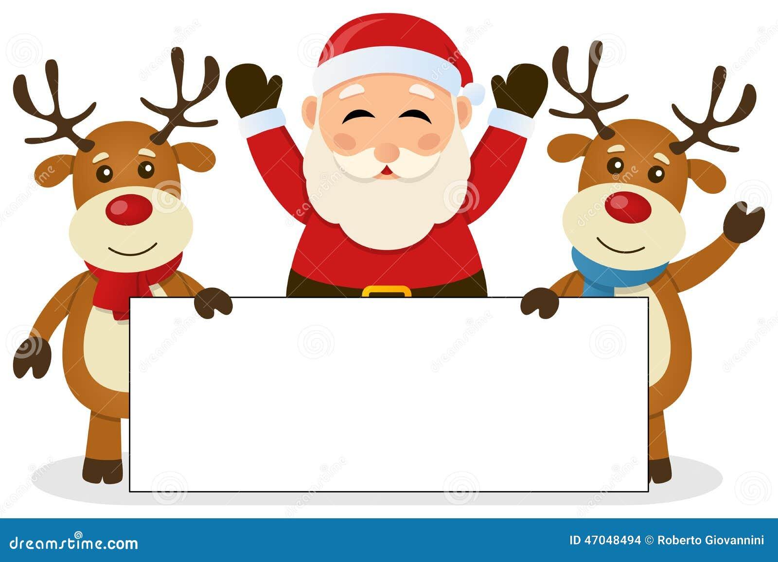 Santa Claus Y Reno Con La Bandera En Blanco Ilustración