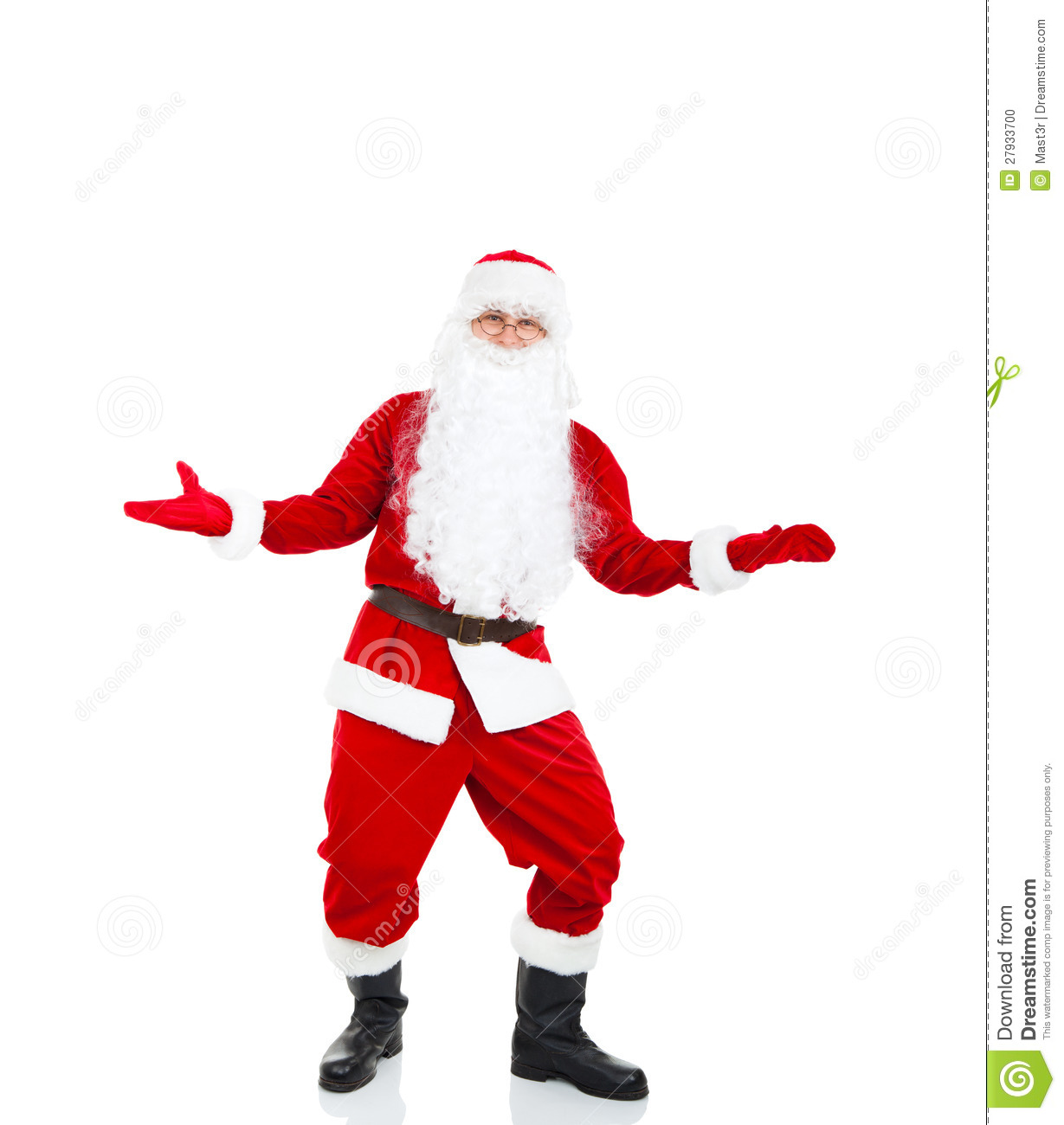 Santa Claus hold point open palm, with blank empty copy space for Text ...