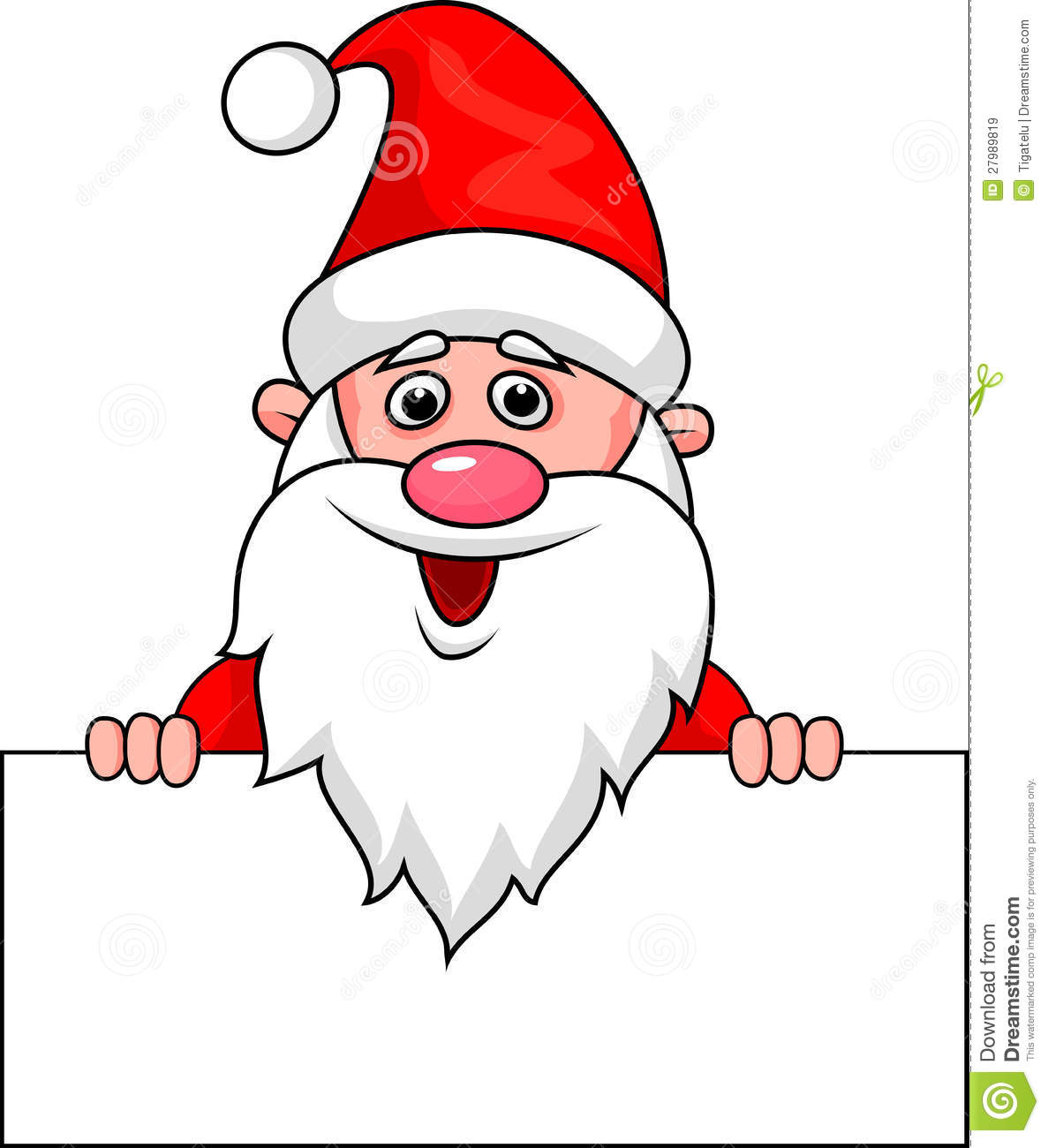 Santa Clause Cartoon With Blank Sign Royalty Free Stock