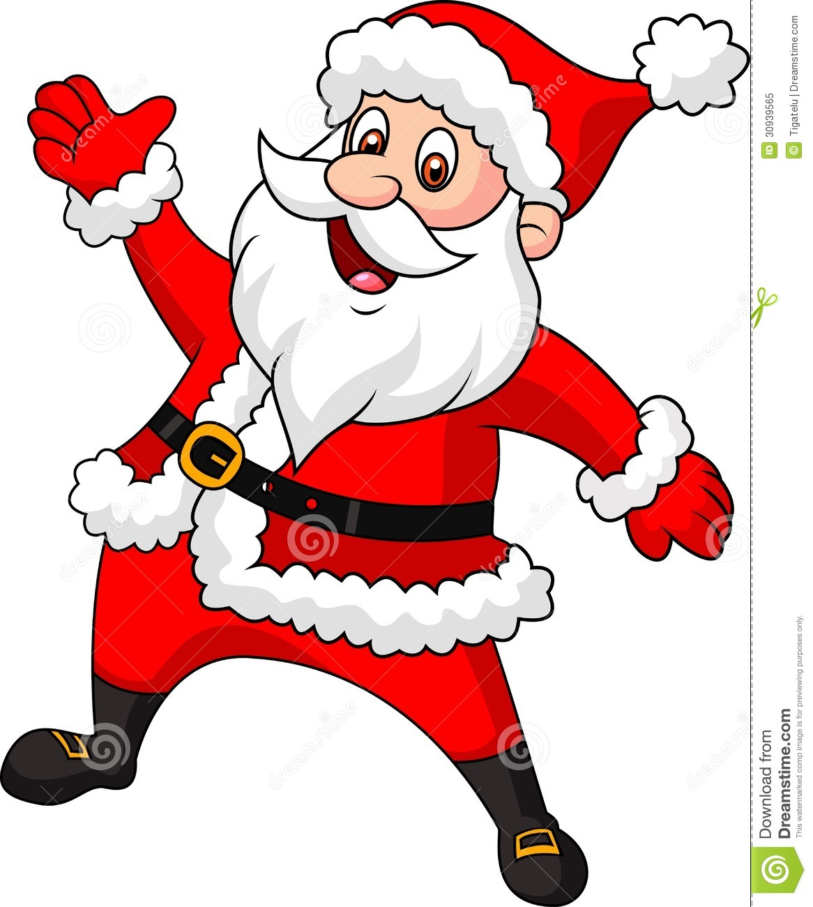 Santa clause cartoon waving hand stock vector