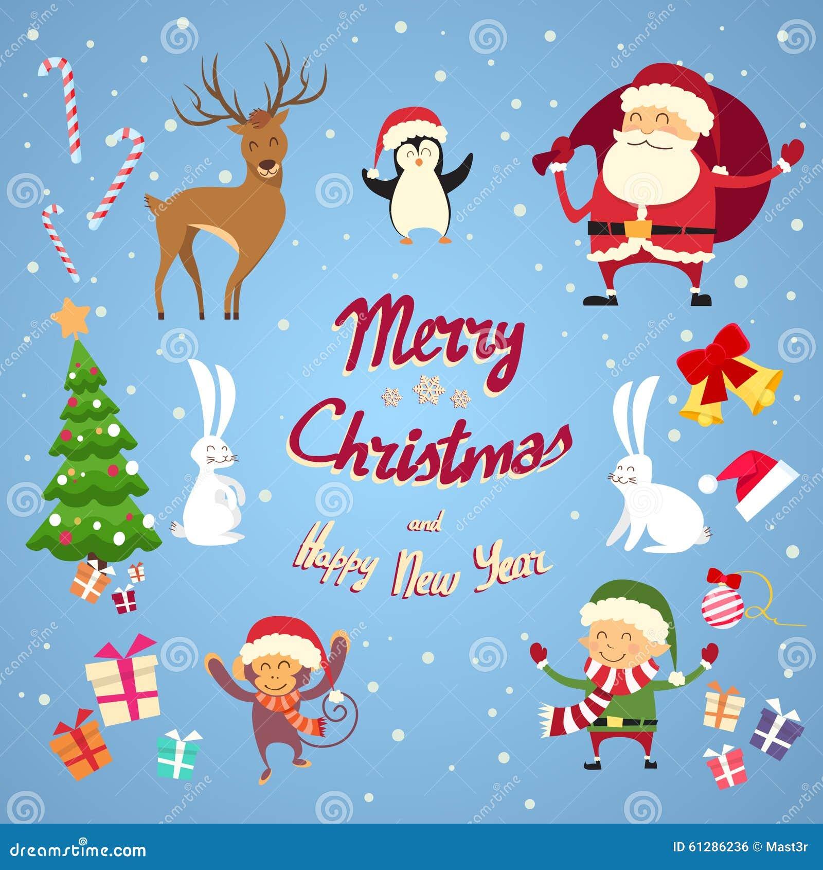 Santa Clause Christmas Elf Cartoon tecken - uppsättning