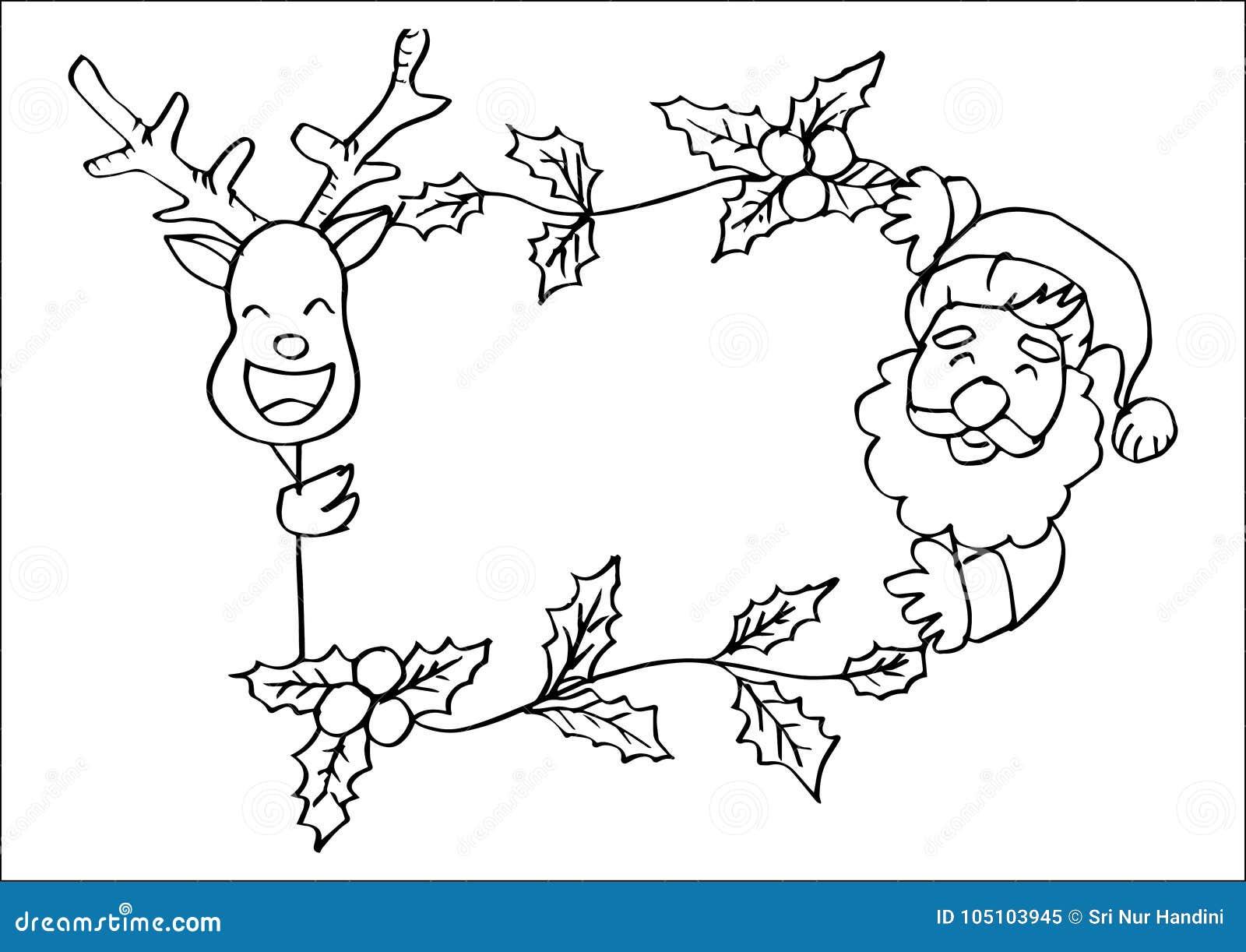 Santa Clause And Deer In Frame. Stock Illustration - Illustration of ...