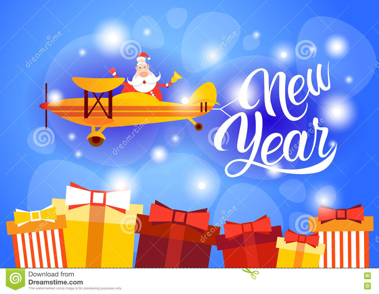 santa clause flying airplane happy new year decoration greeting card celebration banner