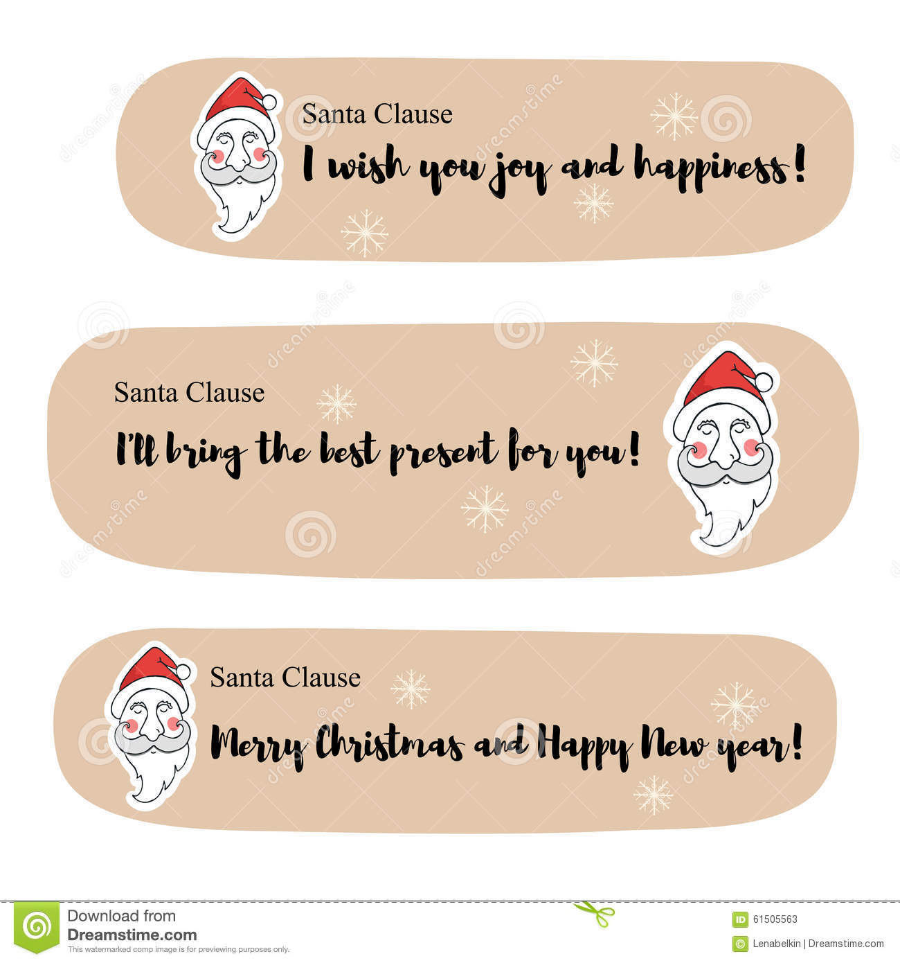 Santa Clause Messages Stock Vector Illustration Of Cute 61505563