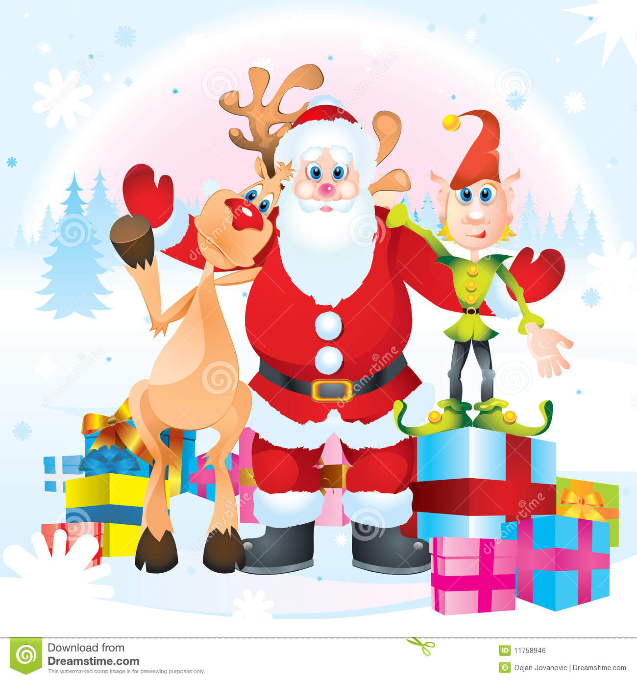 Santa clause rudolph and elf royalty free stock image image