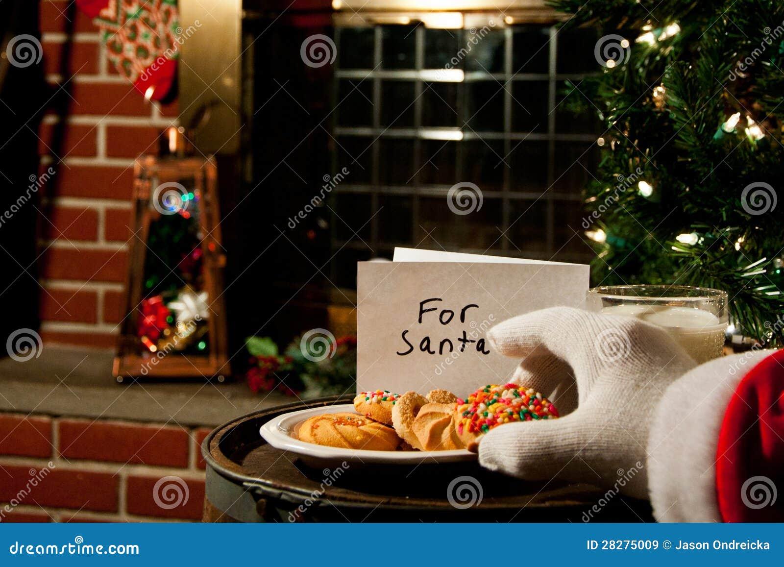 Santa Claus Taking A Cookie Stock Image Image Of Decor Catholic