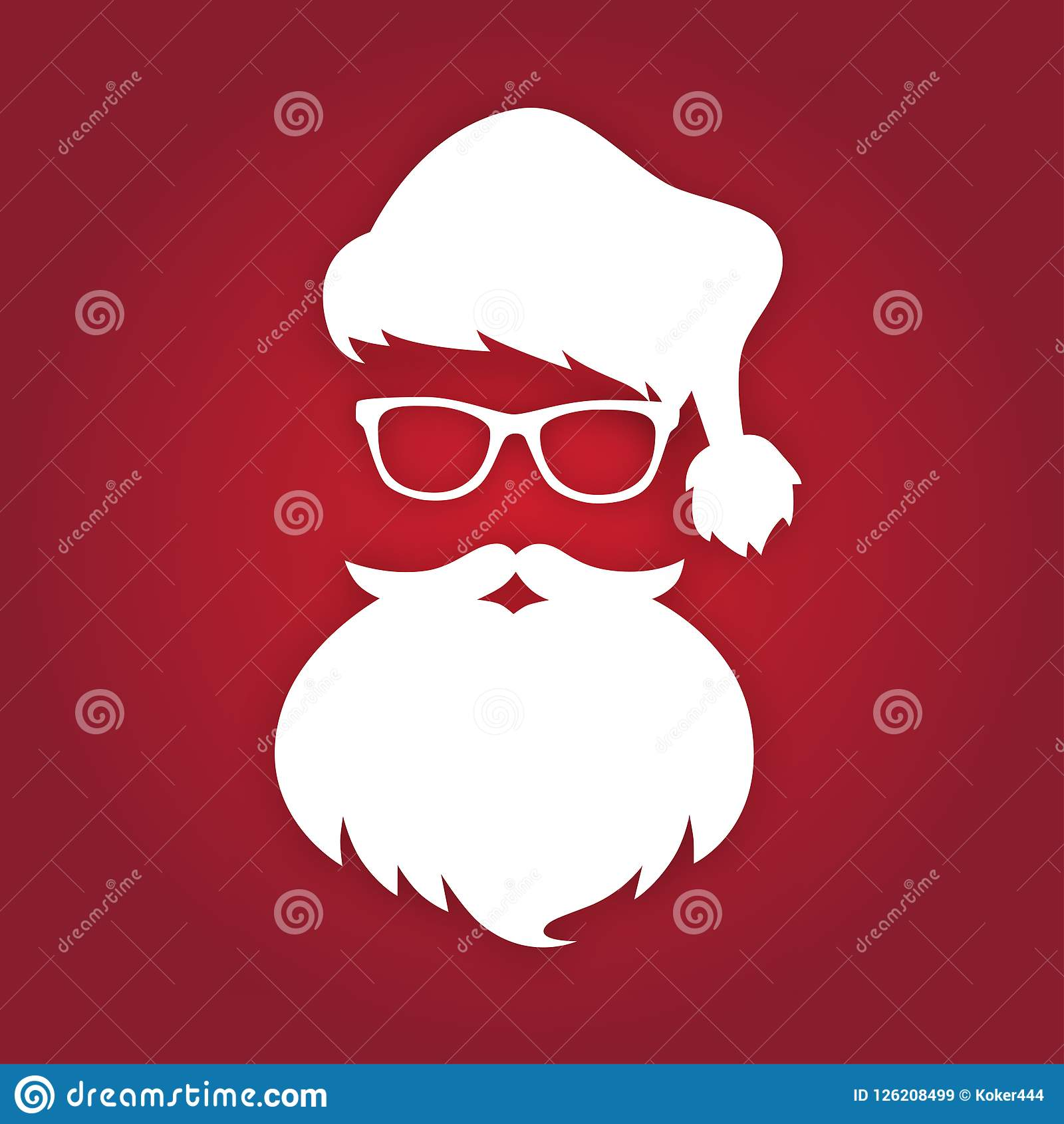 e2122b502ef Santa Claus With Beard And Glasses. White Silhouette. Vector ...