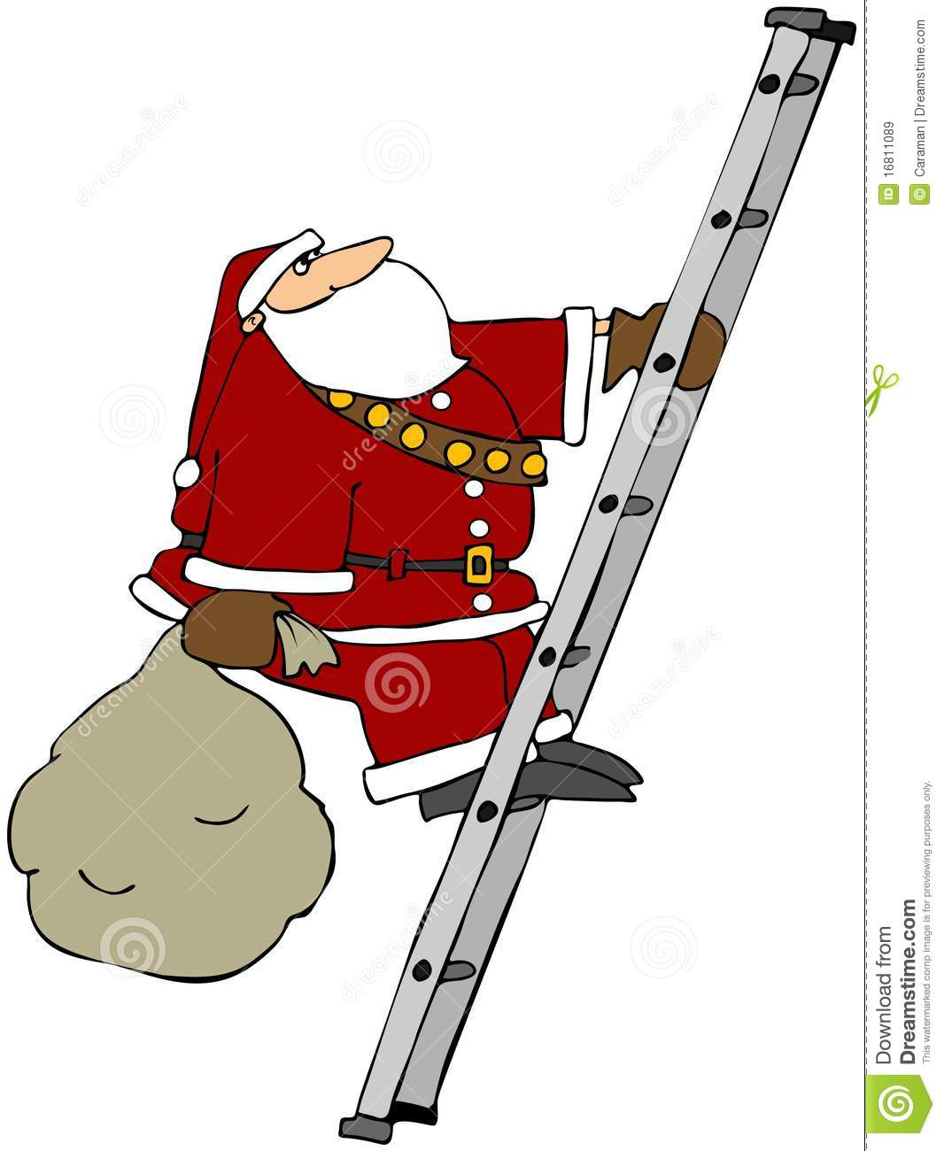 Santa Climbing A Ladder Royalty Free Stock Images Image