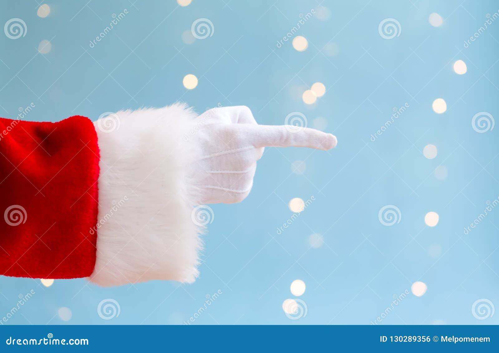 Santa com apontar o gesto