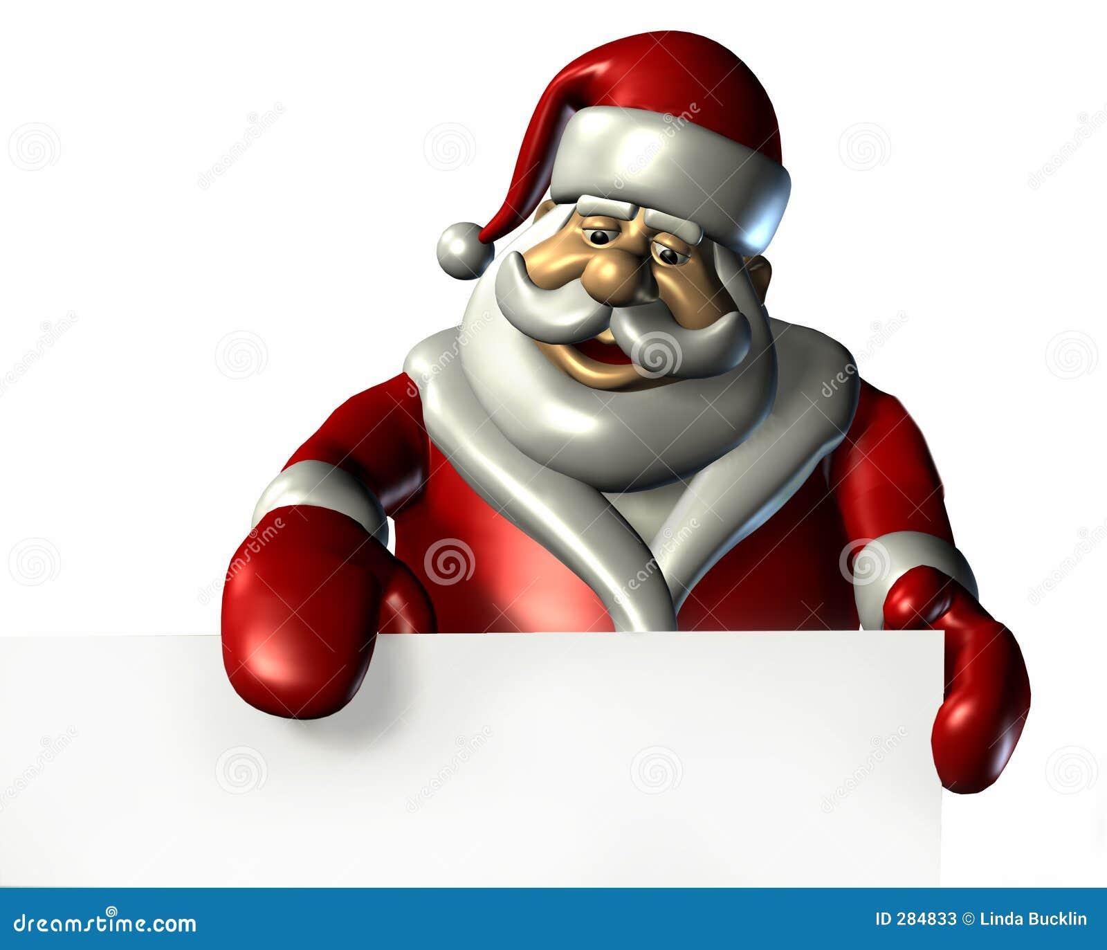 Santa com a borda de um sinal em branco - com trajeto de grampeamento