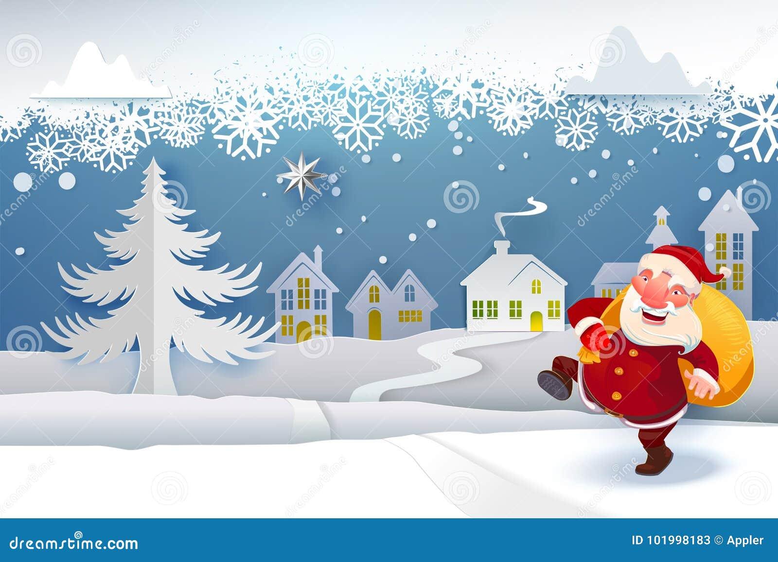 Santa com os presentes que vão sob a neve