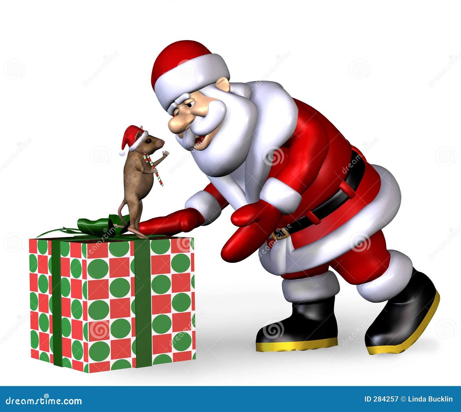Santa com rato do Natal - com trajeto de grampeamento