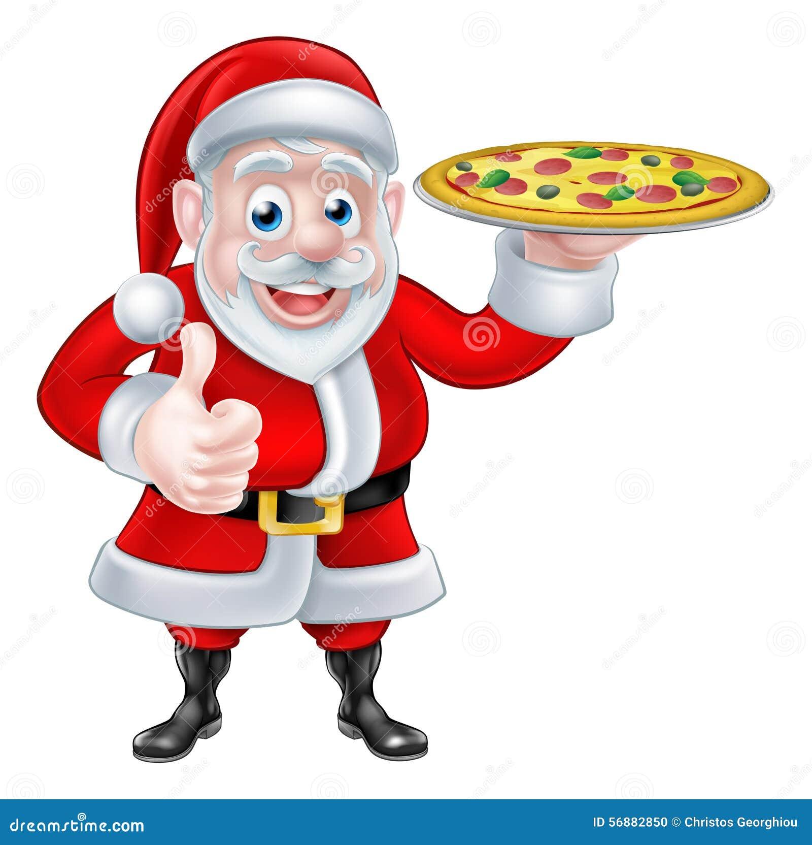 Santa con pizza