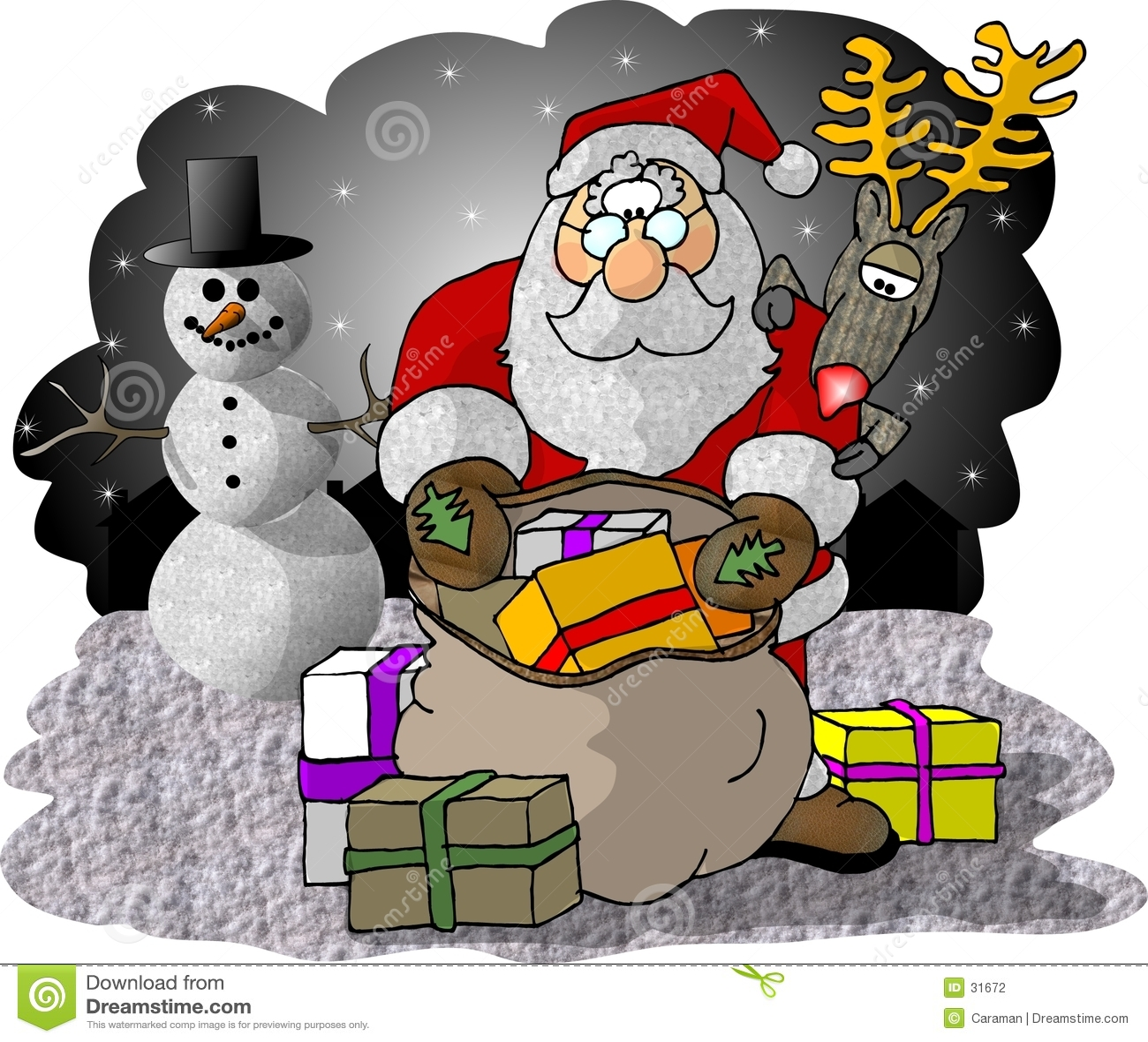 Santa contrôlant son sac des cadeaux