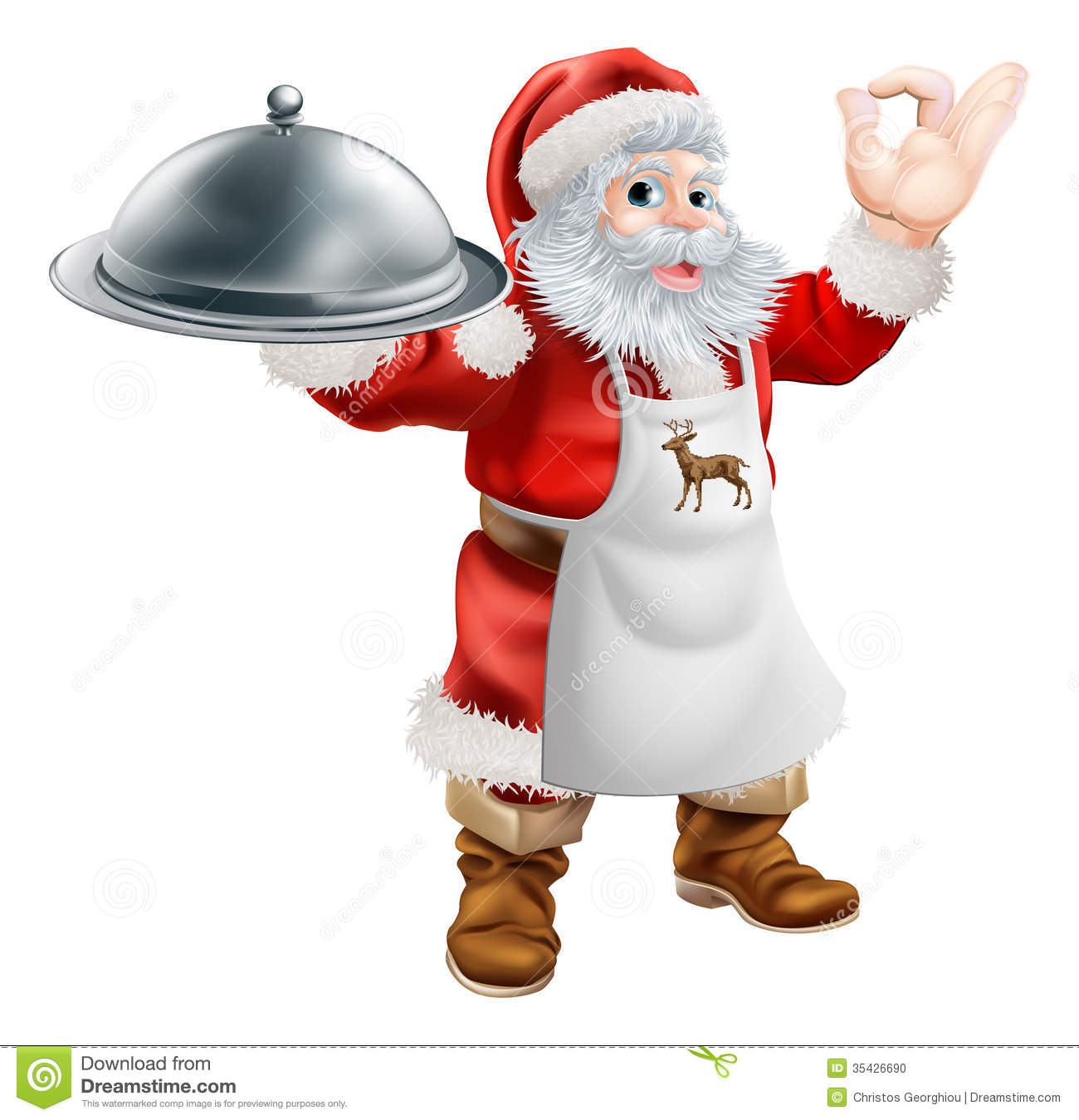Santa Cook Christmas Dinner Concept Stock Photo