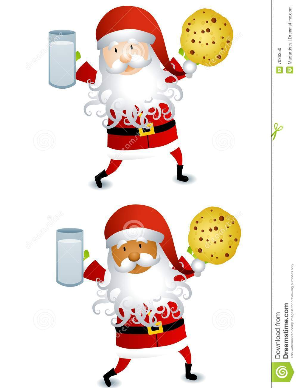Santa With Cookie And Milk Stock Illustration Illustration Of