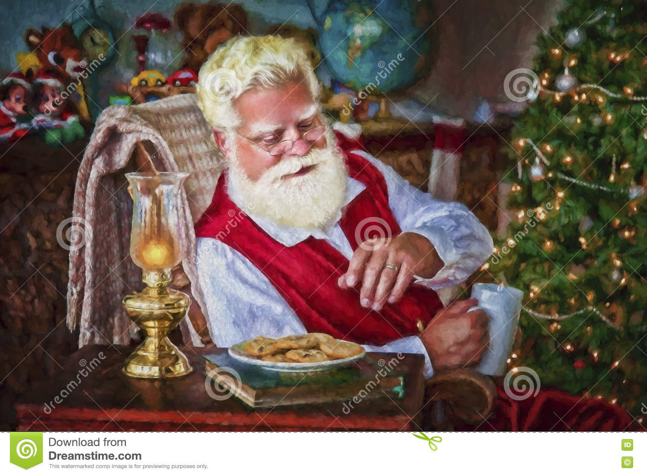 Santa With Cookies And Hot Chocolate Stock Image Image Of Claus