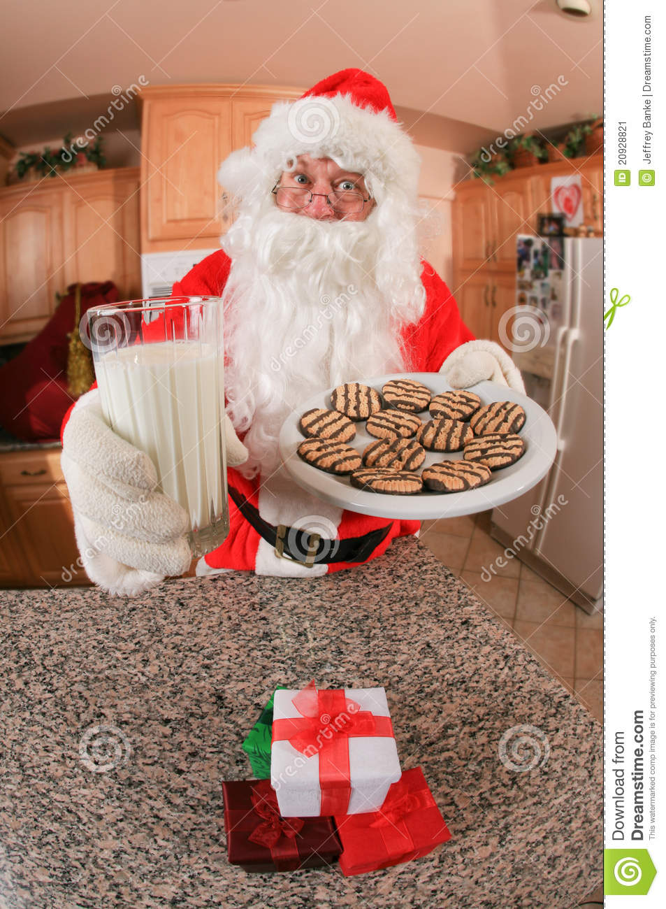 Santa With Cookies And Milk Stock Image Image 20928821