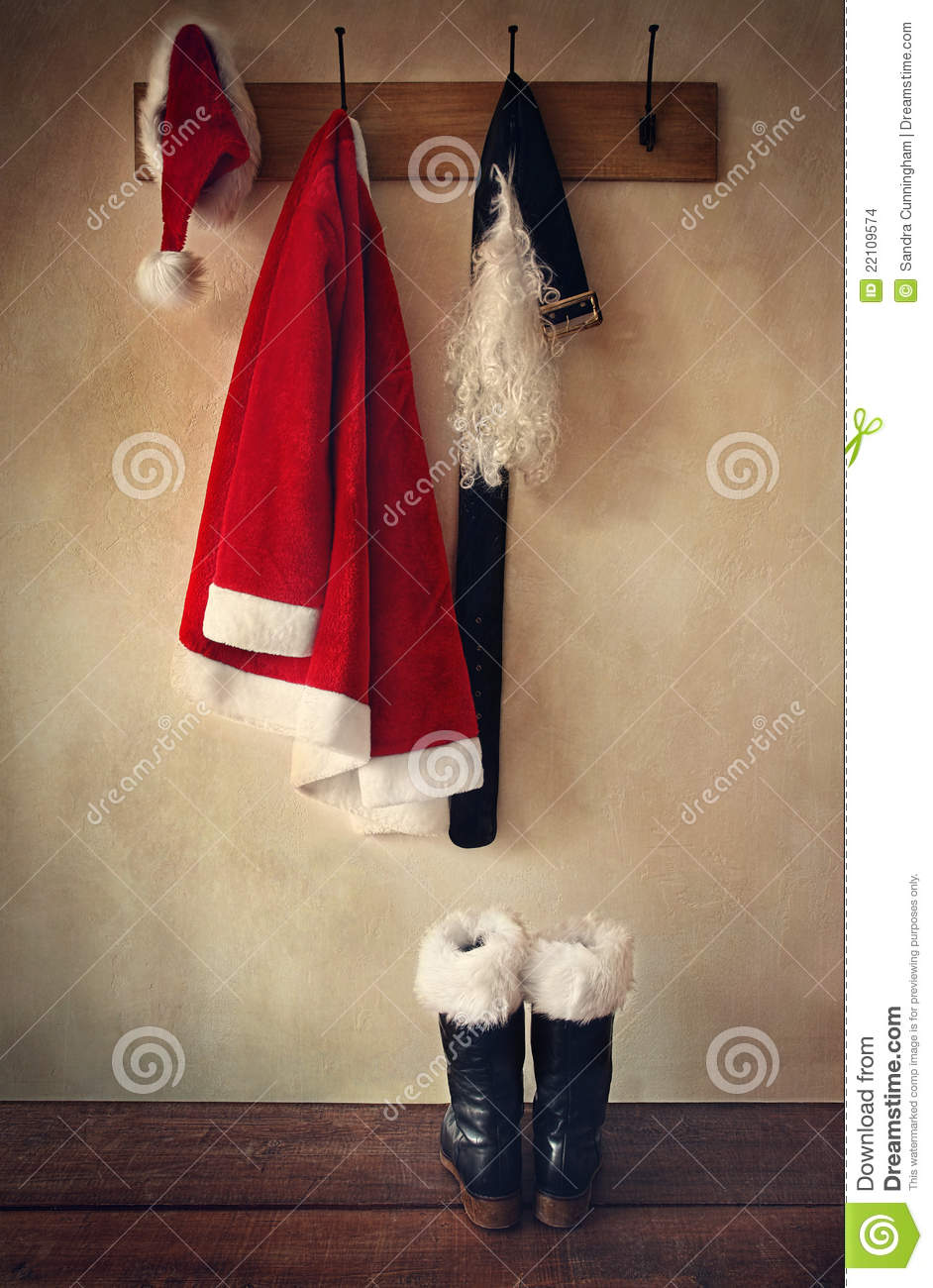 Santa Costume With Boots On Coatrack Stock Images Image