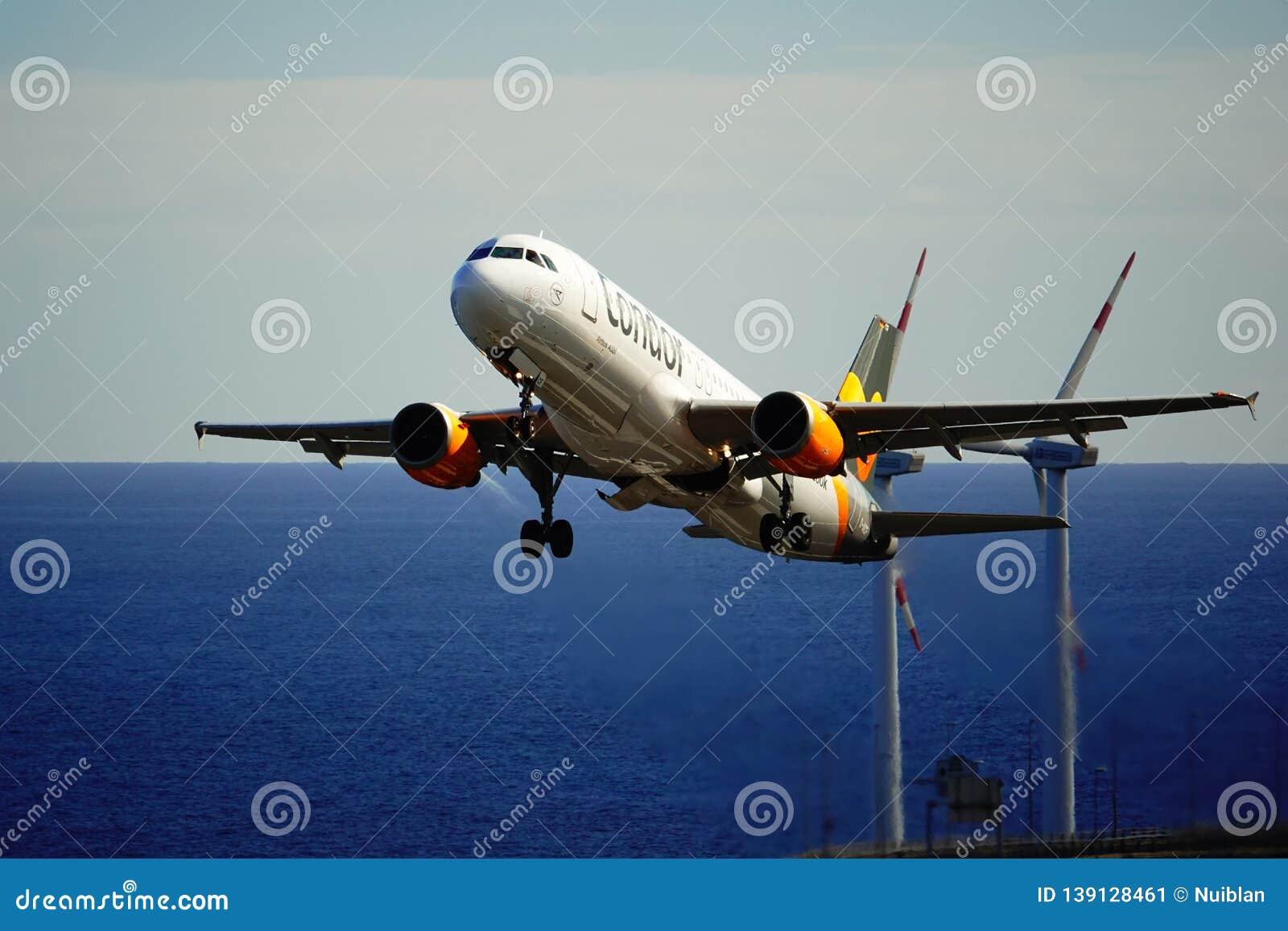 Santa Cruz de La Palma, Canary Islands, Spain; December 2nd 2018: Condor airplane taking off La Palma Airport